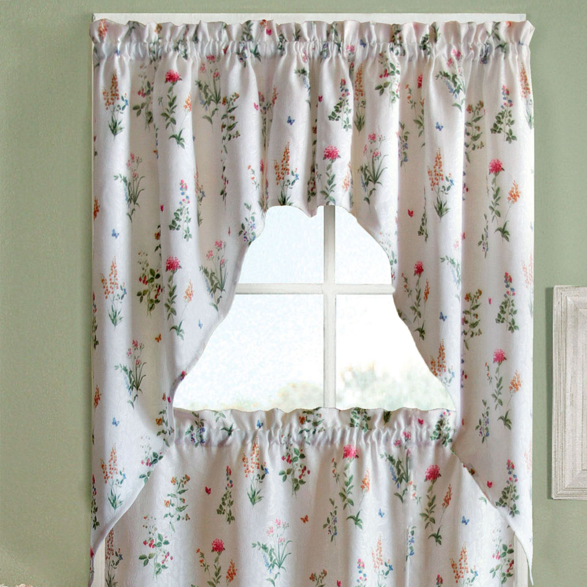 Butterfly Garden Swag Valance Pair White 55 x 38