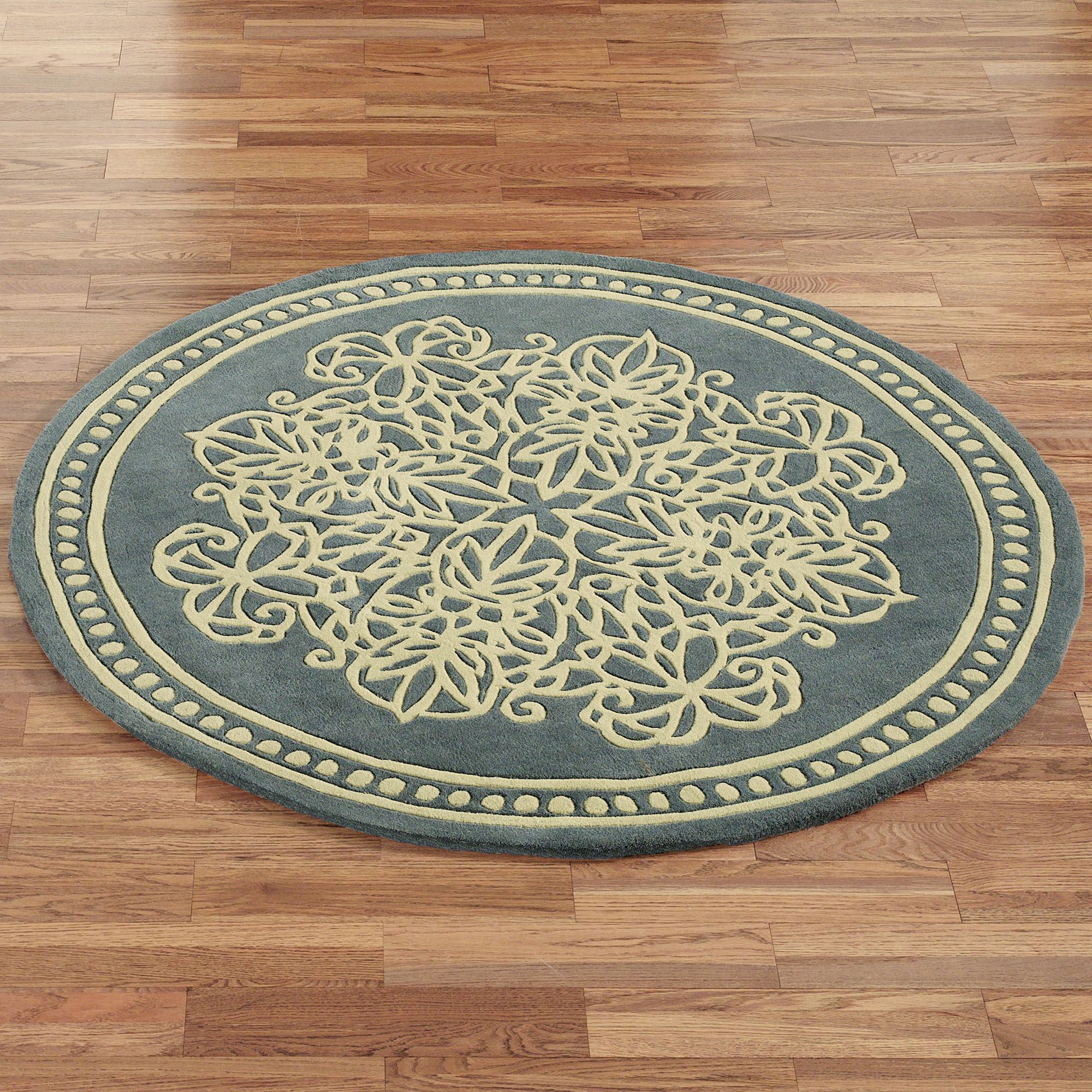 Lucia Lace Round Rug Steel Blue 5