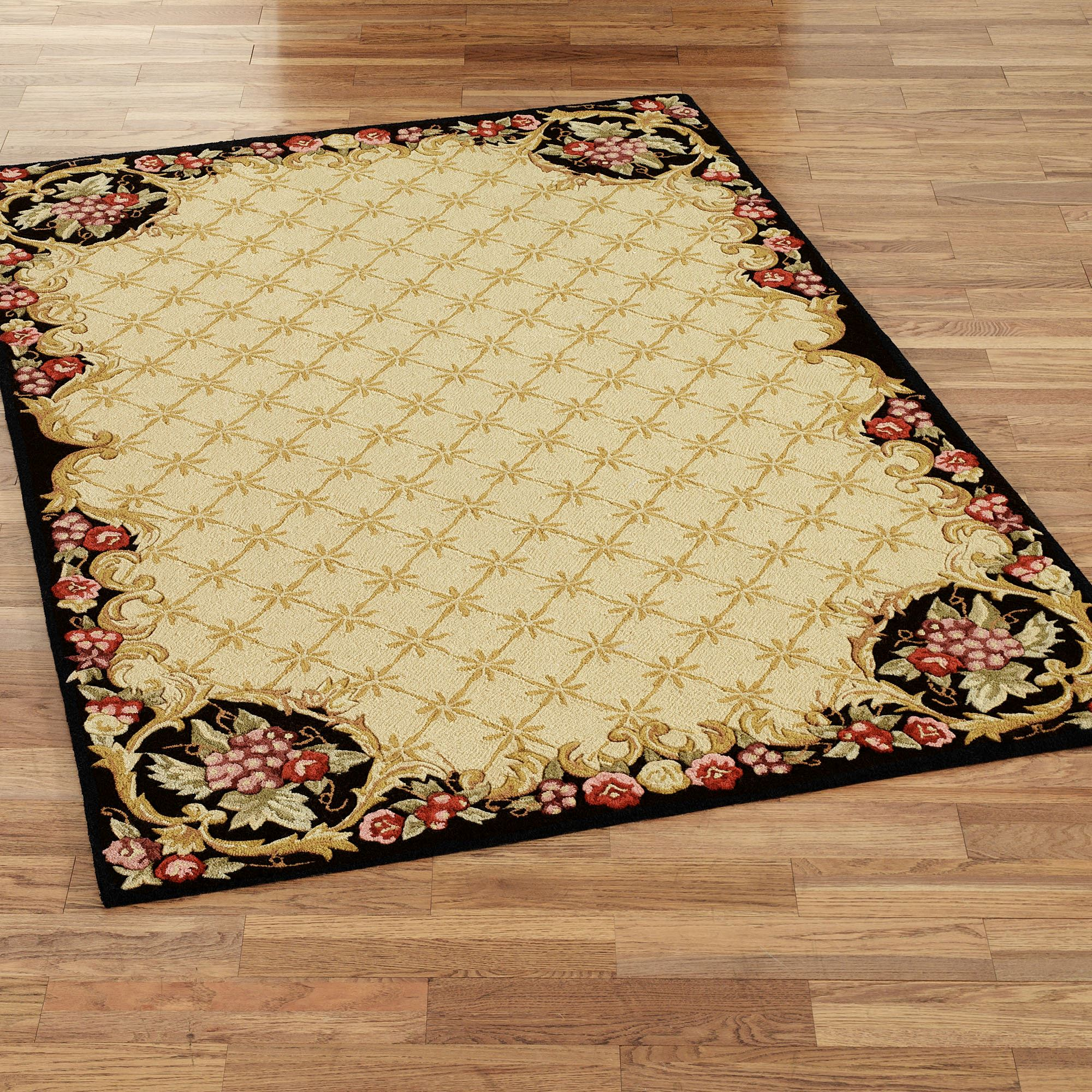 Wine And Roses Hooked Area Rugs
