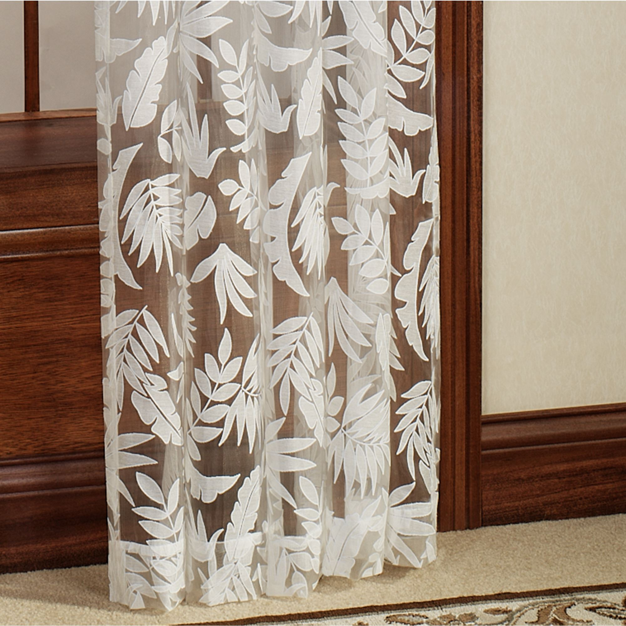 Tropical leaves burnout sheer curtain panels for Painting sheer curtains