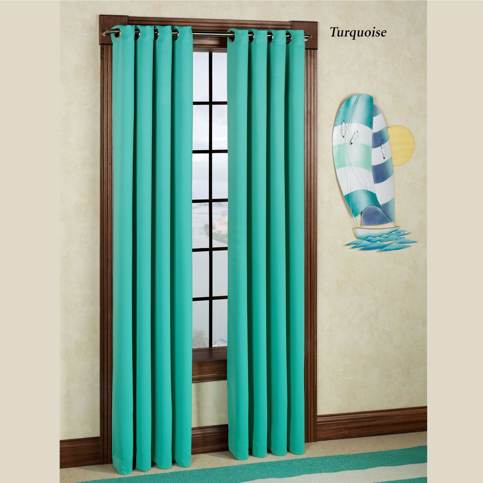 turquoise door tq top and solid plain product tie cotton for curtain hcur curtains windows