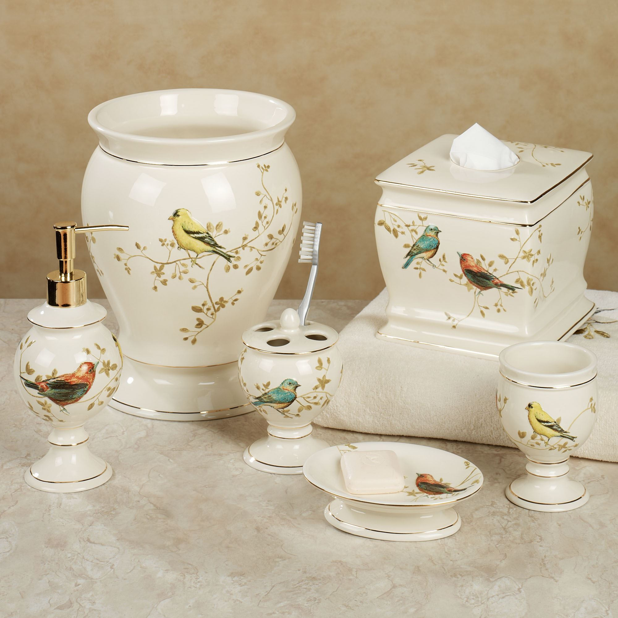 Gilded bird ceramic bath accessories for Home bathroom accessories