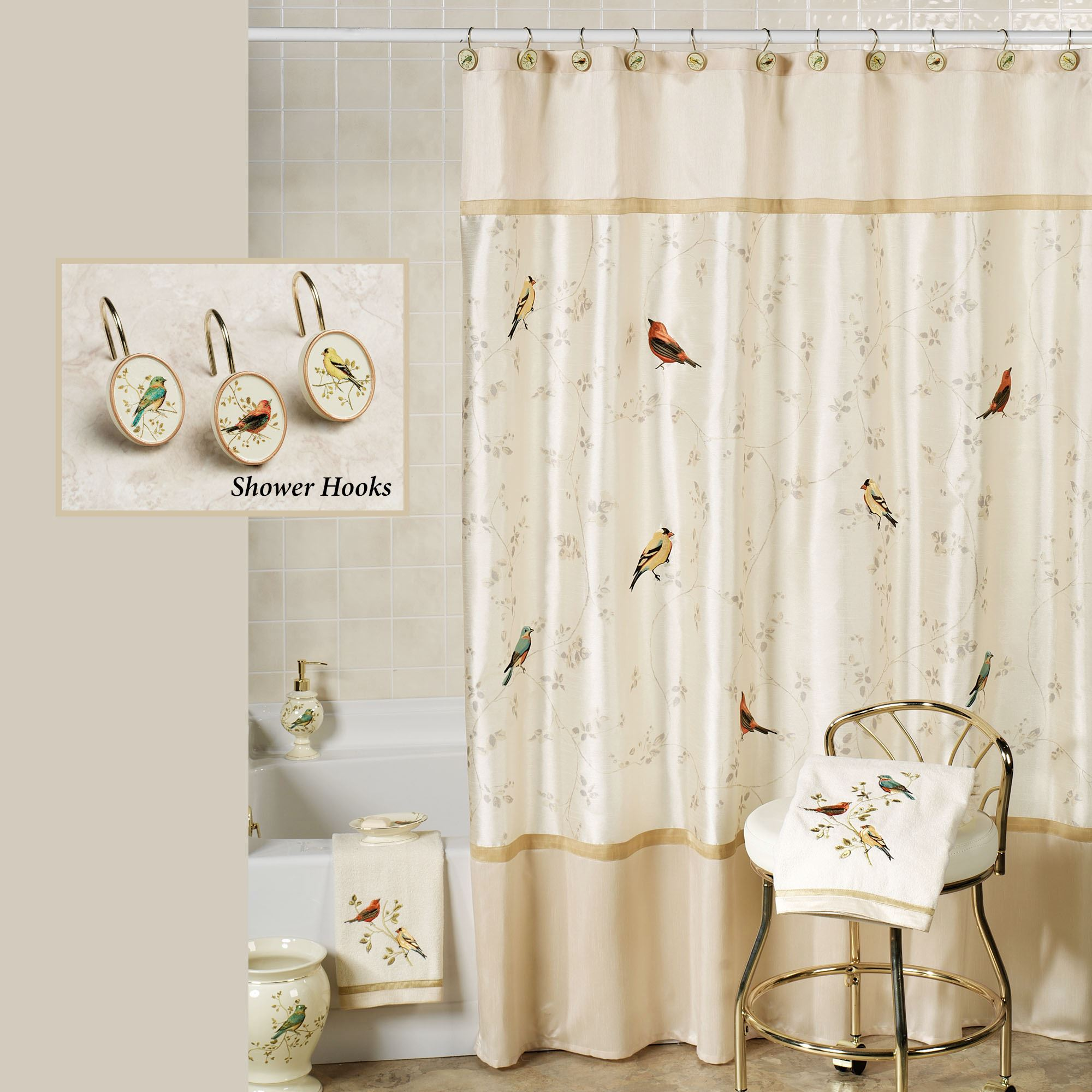 Gilded Bird Shower Curtain Ivory