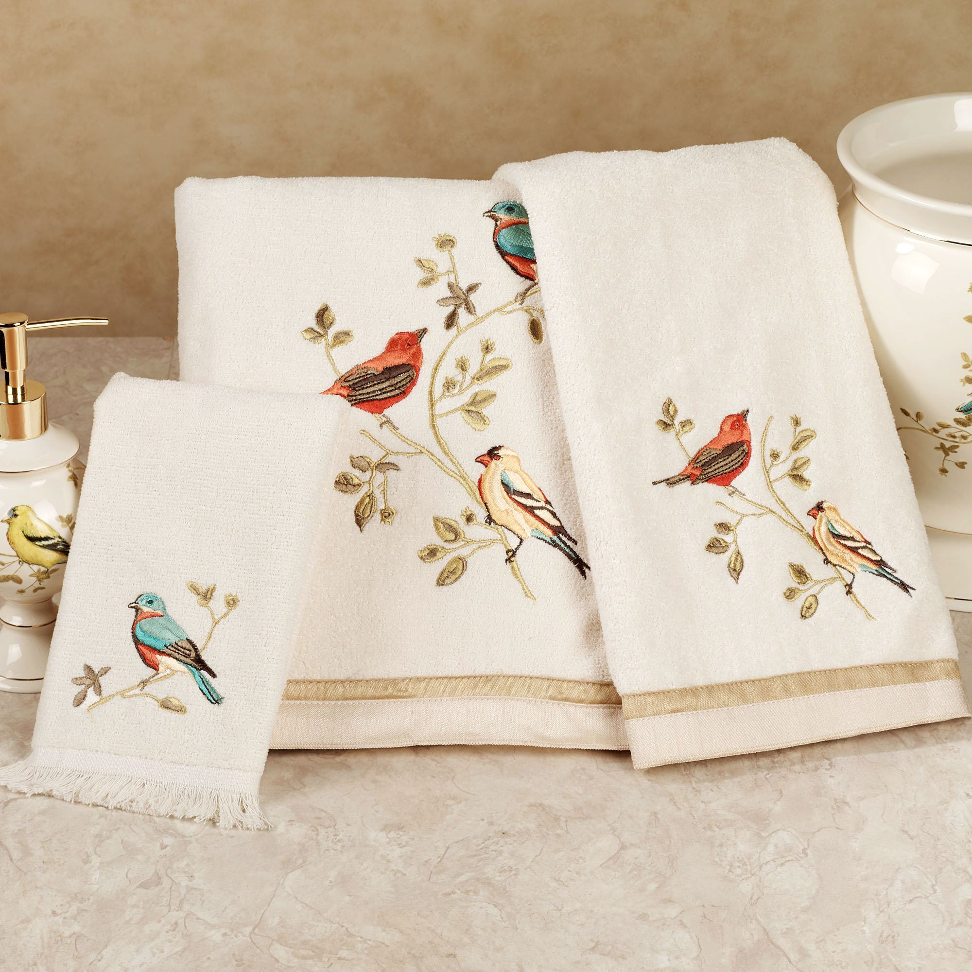 Gilded bird embroidered bath towel set for Bathroom ideas towels