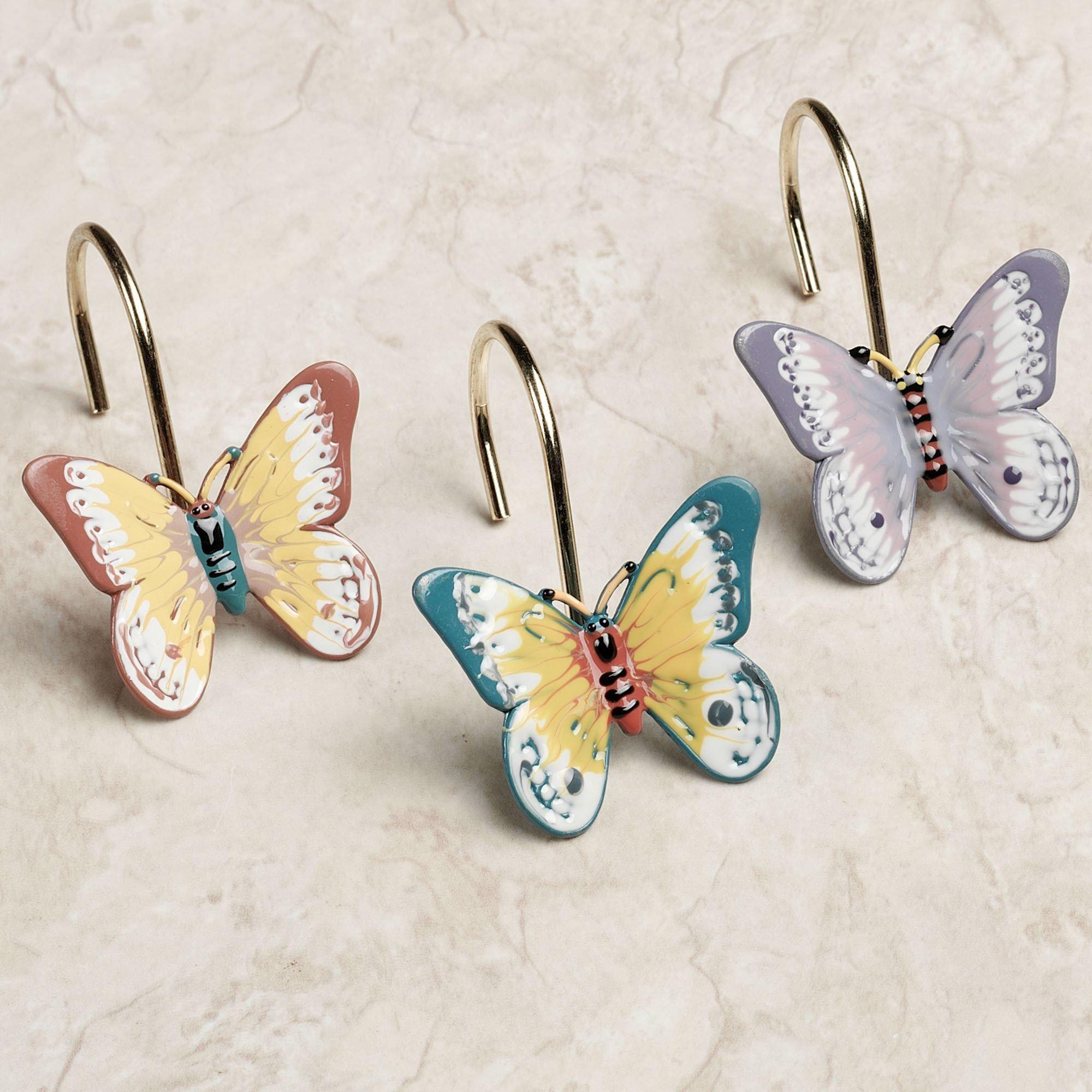 Butterfly Meadow Shower Curtain Hook Set Multi Pastel Of Twelve