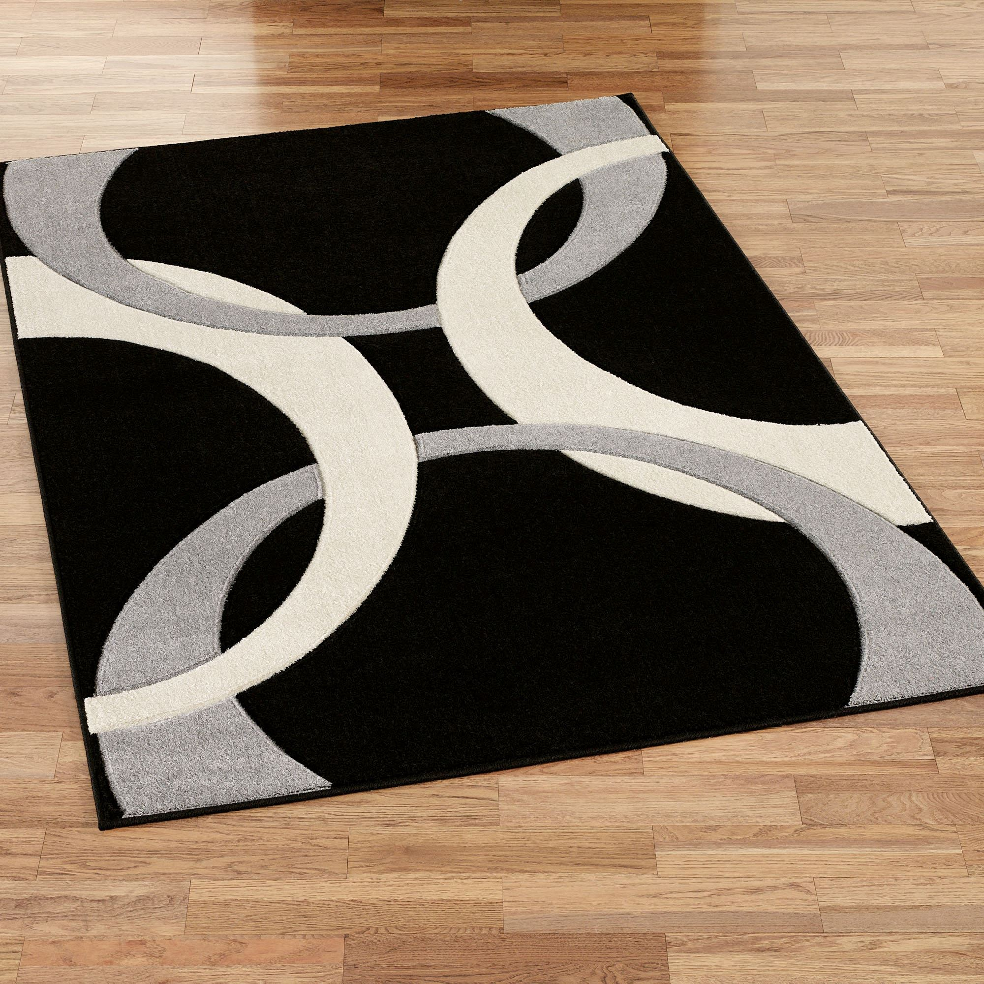 Corfu contemporary black area rugs for Area carpets and rugs