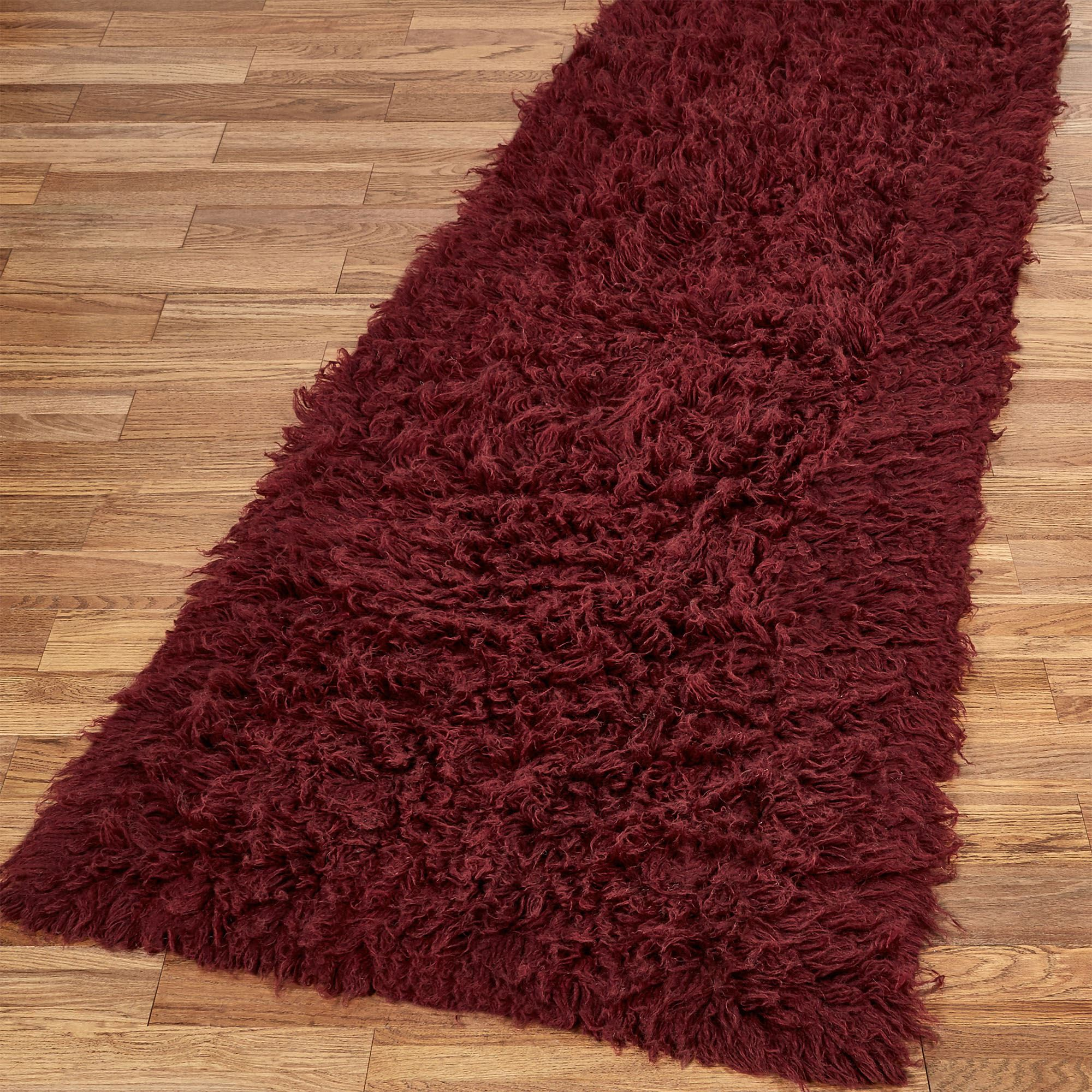 Burgundy Flokati Wool Shag Area Rugs