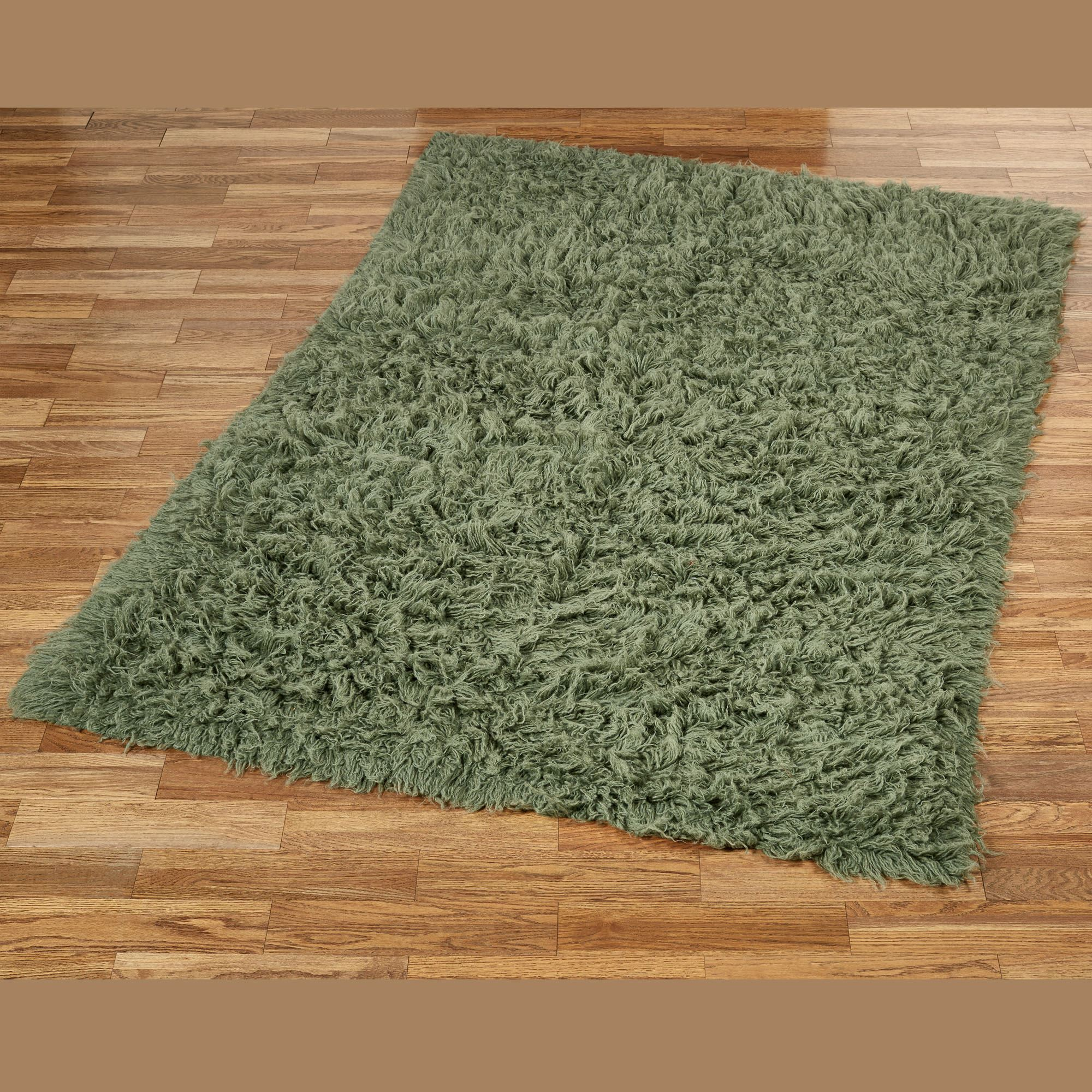 Charming Olive Flokati Rectangle Rug