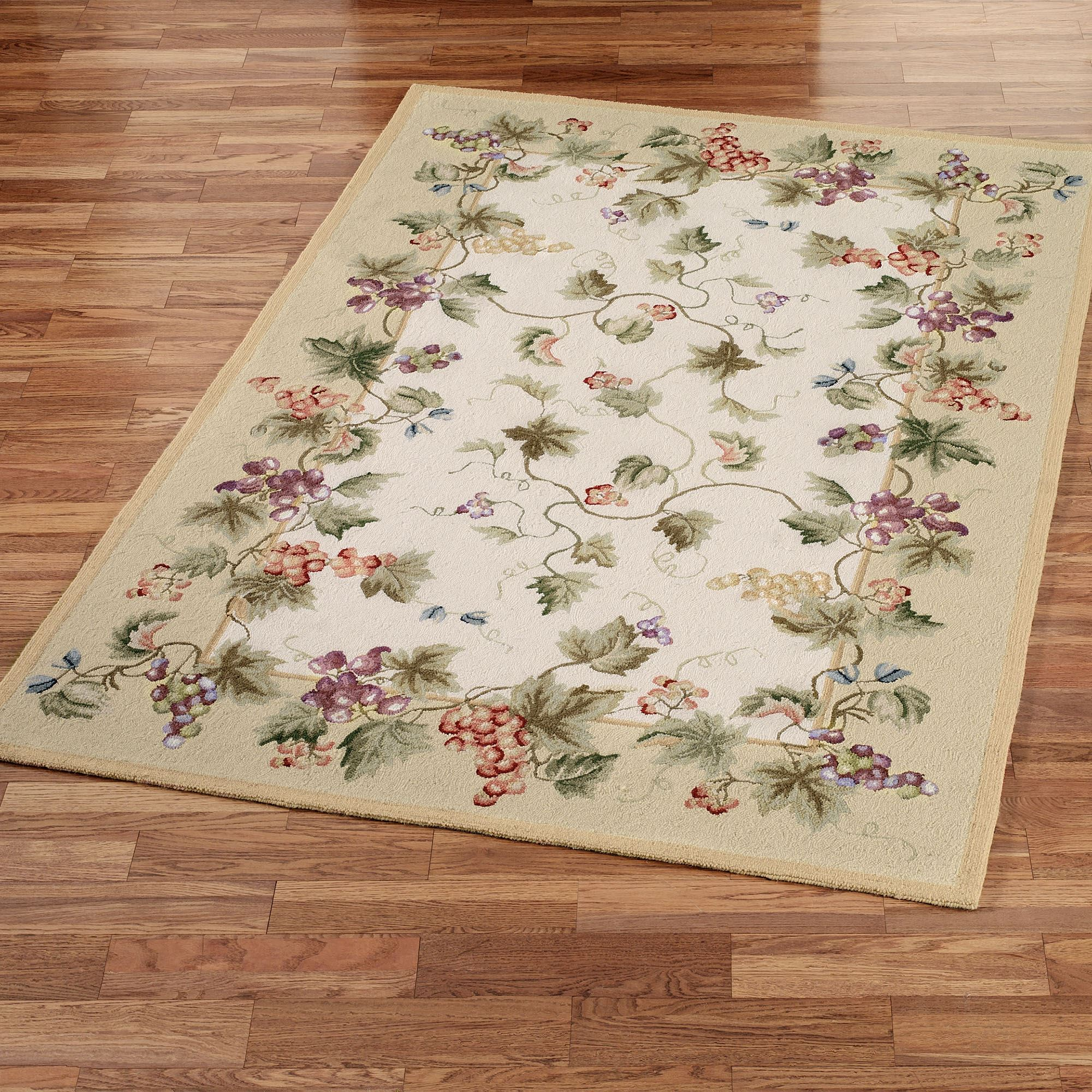 Vining Grapes Wool Area Rugs