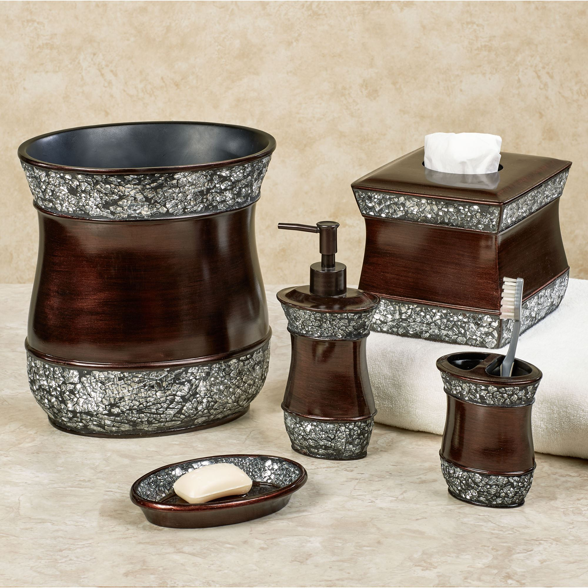 Elite Handpainted Bath Accessories - Brushed bronze bathroom hardware