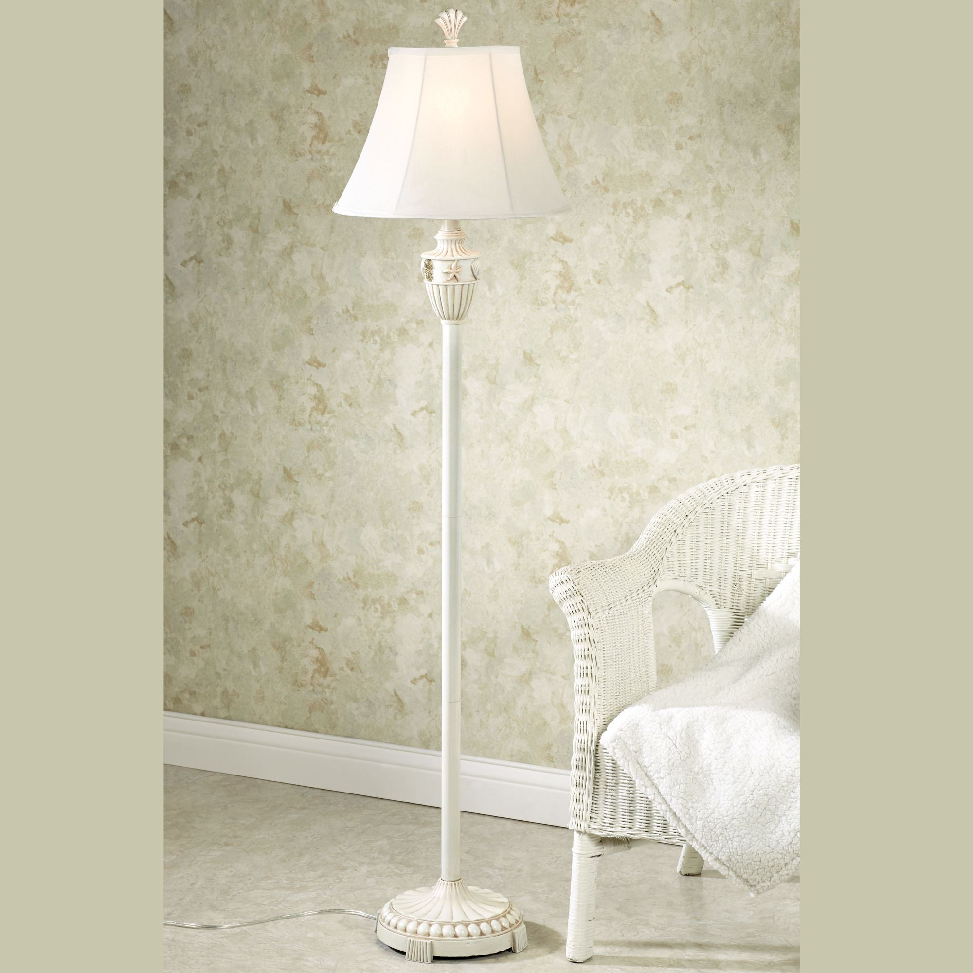 Ceiling wall lighting floor lamps touch of class sand and shell coastal floor lamp with cfl bulb geotapseo Choice Image