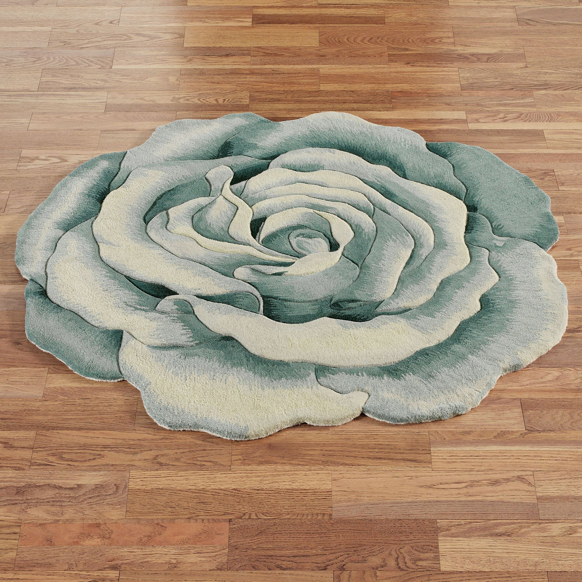Rosemarie Teal Blue Flower Shaped Rugs