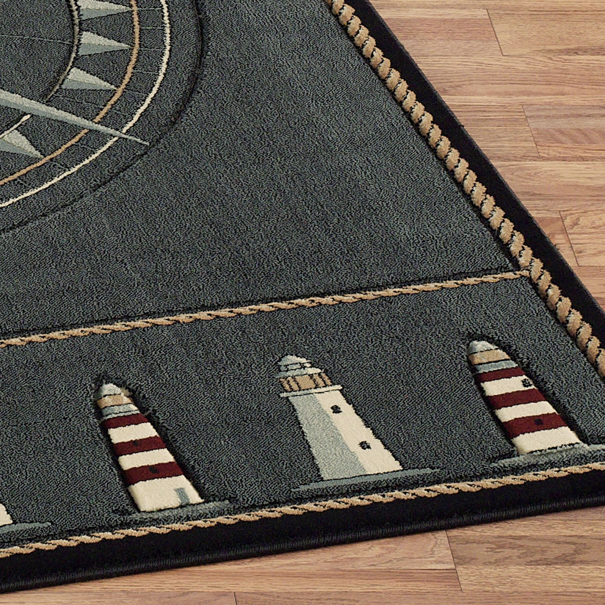 Compass Rose Rug Runner Grey Denim 27 X 74