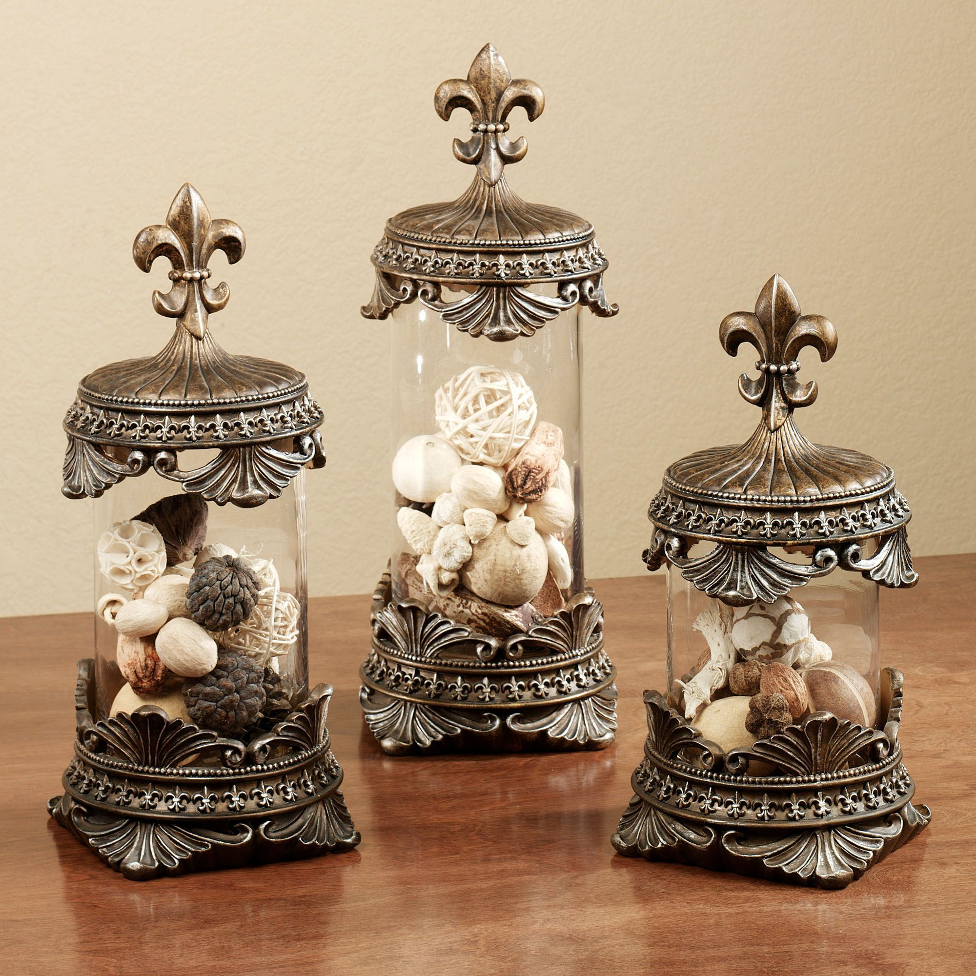 fleur de lis decorative jar set. Black Bedroom Furniture Sets. Home Design Ideas