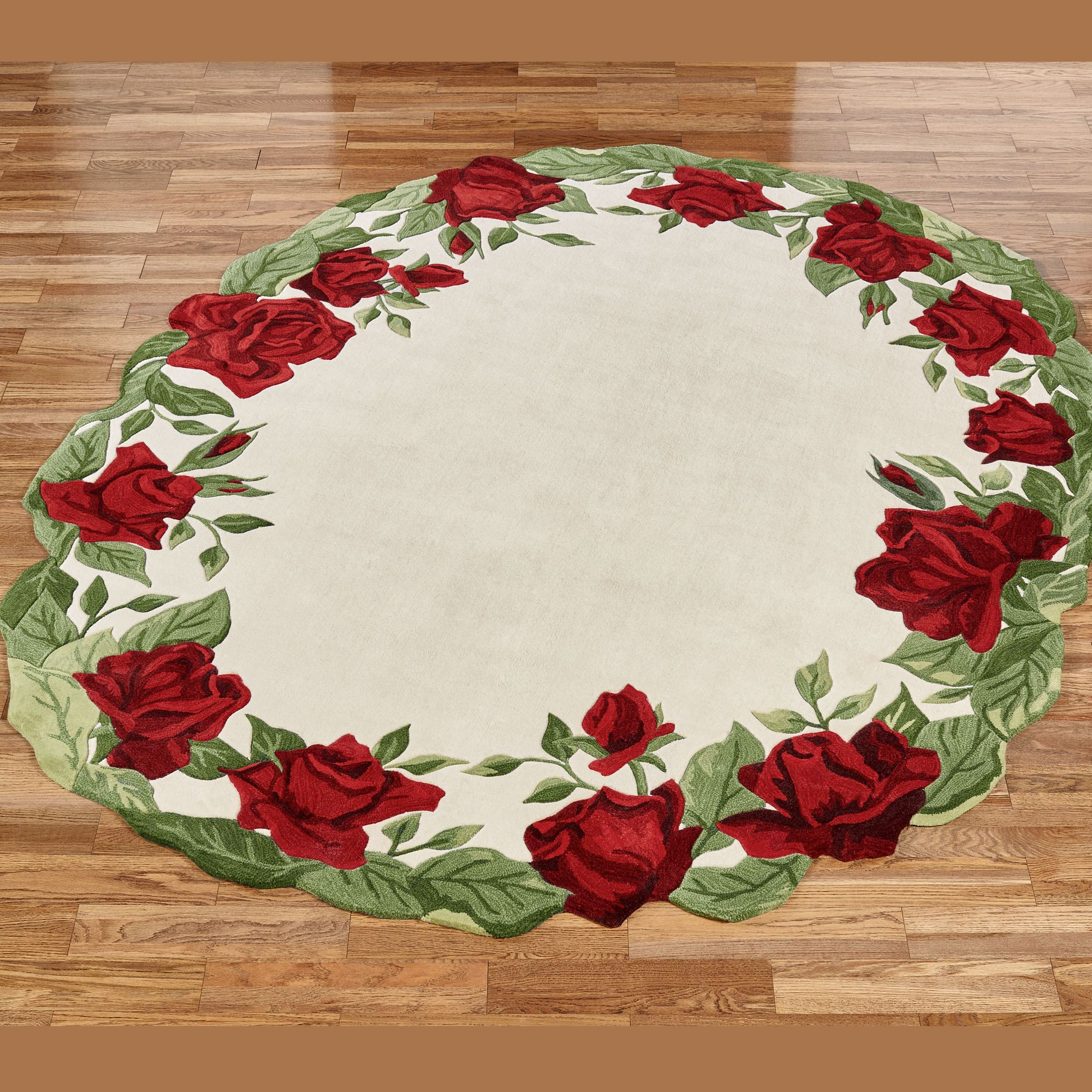 Regal Red Rose Sculpted Floral Oval Rugs