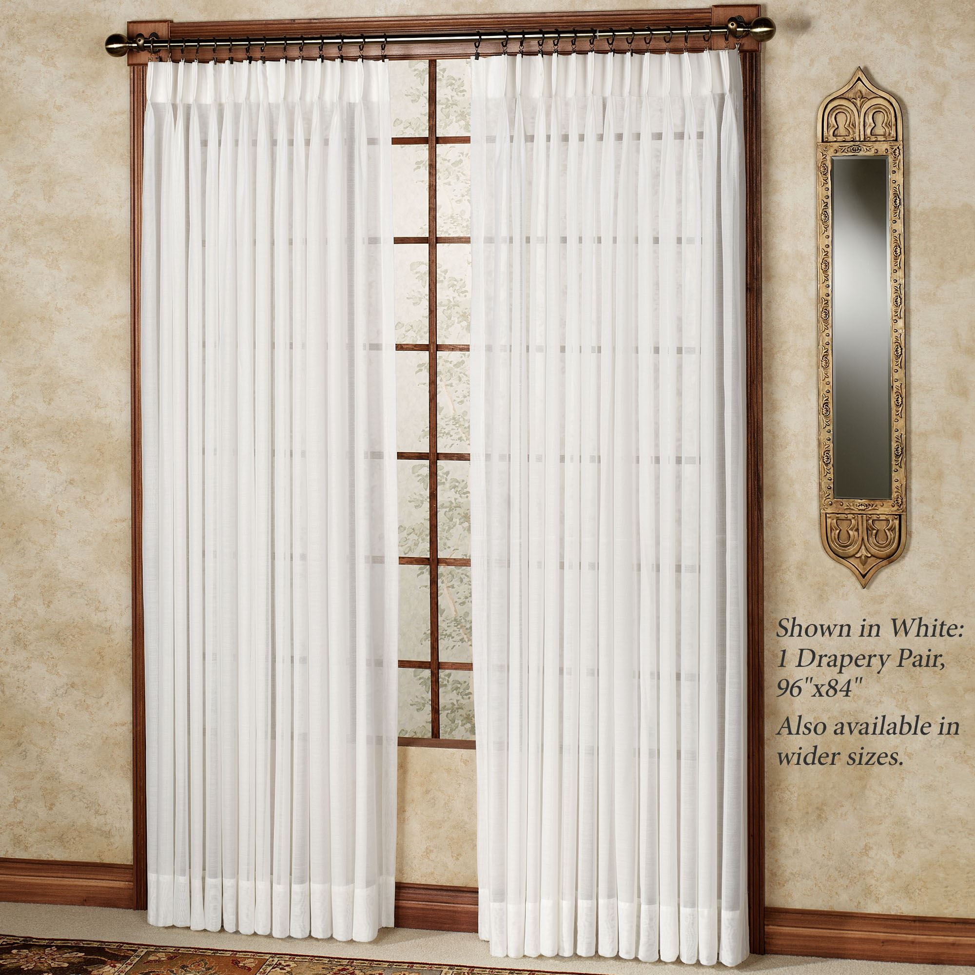 Splendor Semi Sheer Pinch Pleat Drapery Curtain Pair
