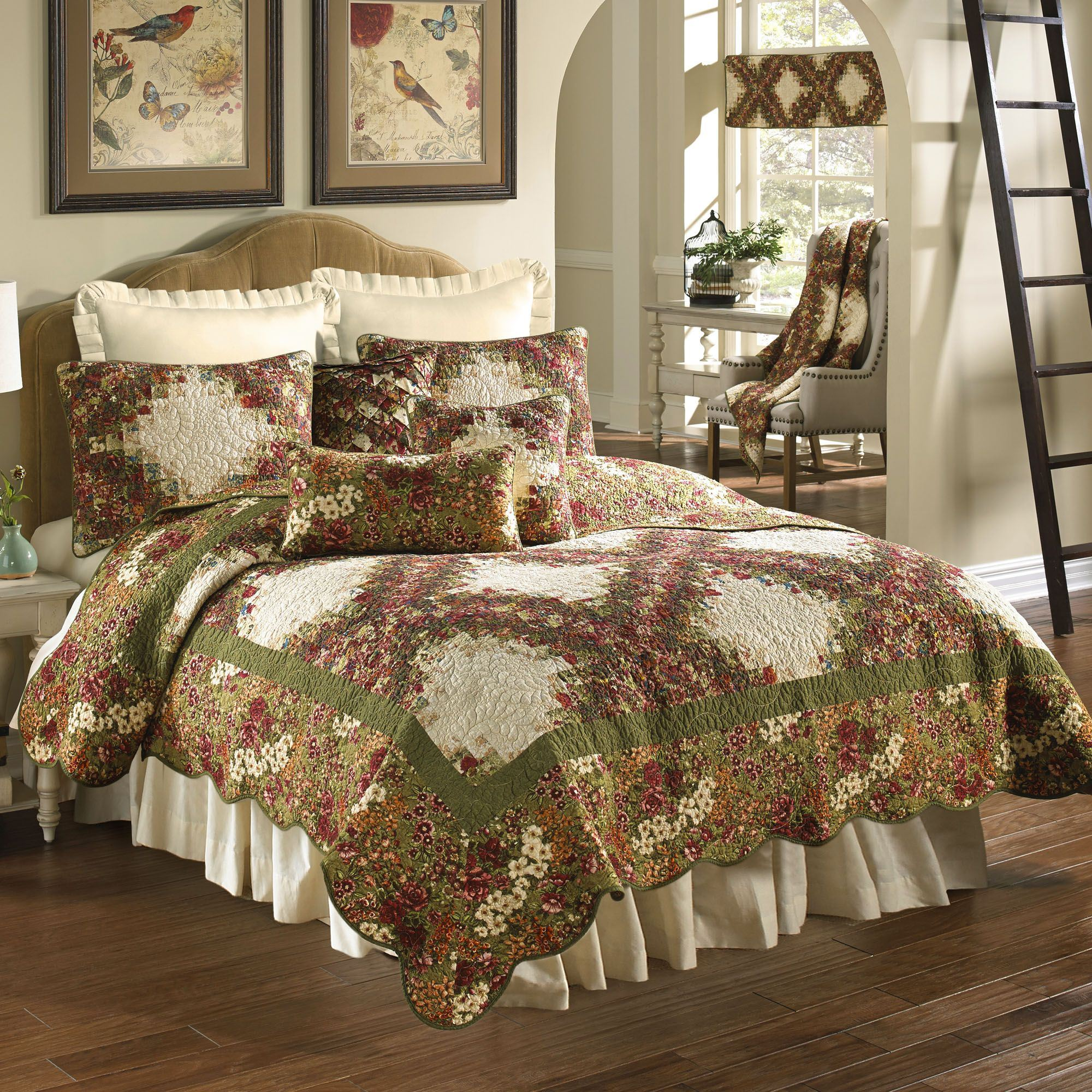 Watercolor Irish Chain Floral Quilt Bedding By Donna Sharp