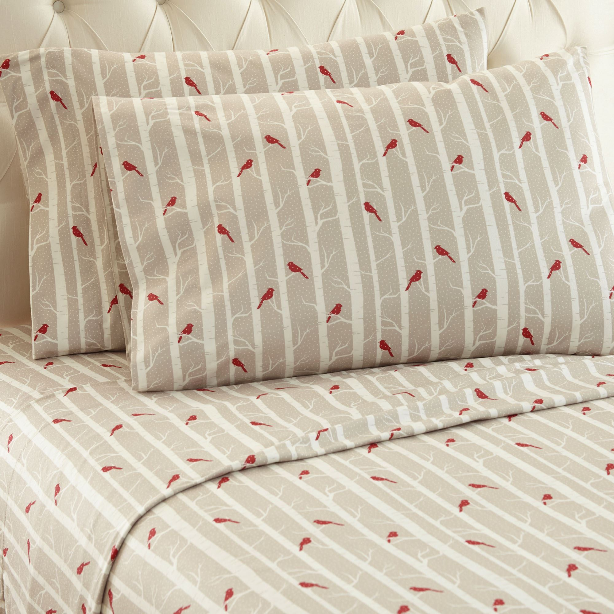 Cardinals Micro Flannel Sheet Set Almond. Touch To Zoom