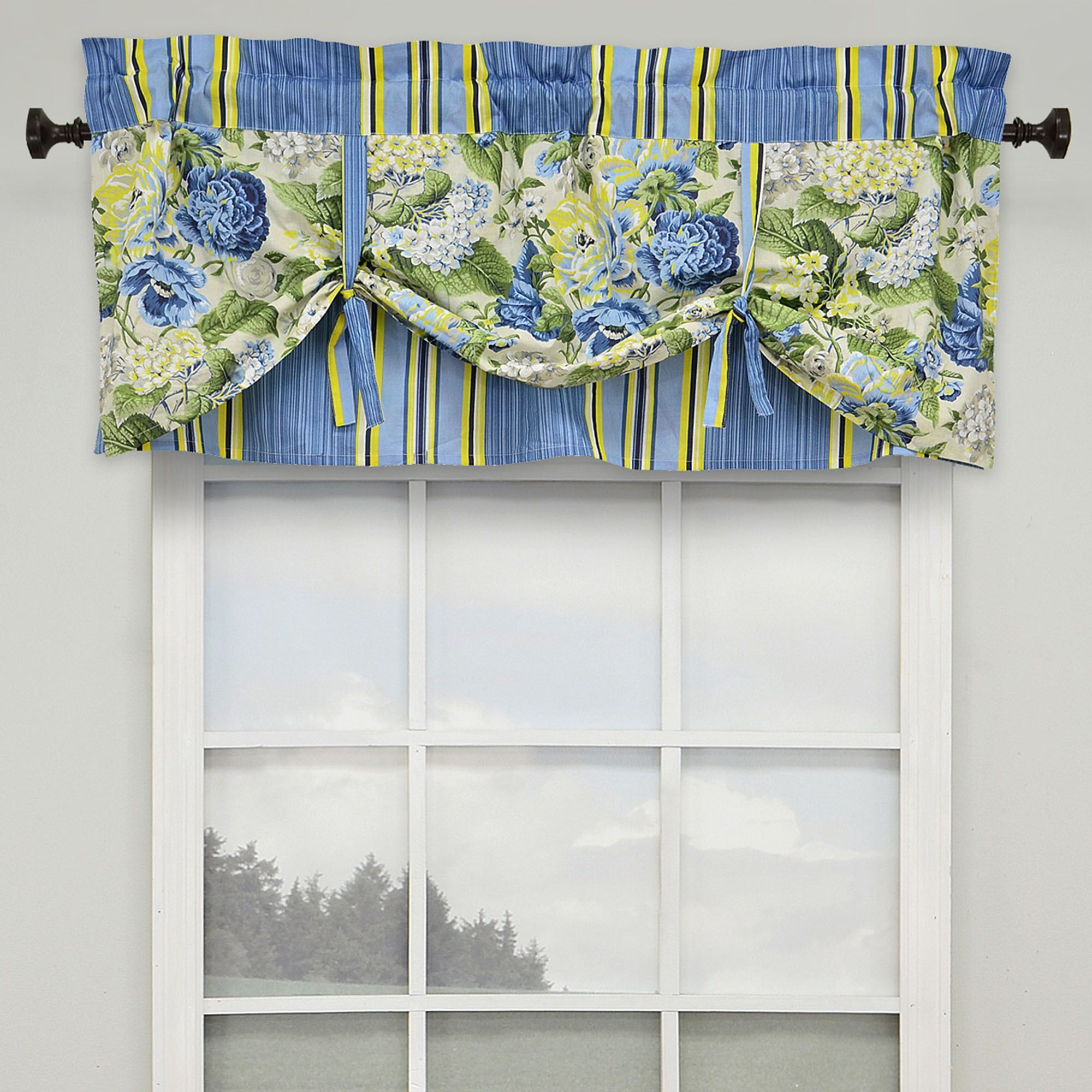 panel trellis between valance curtain navy weathermate curtains up tie in top grommet color thermal insulated