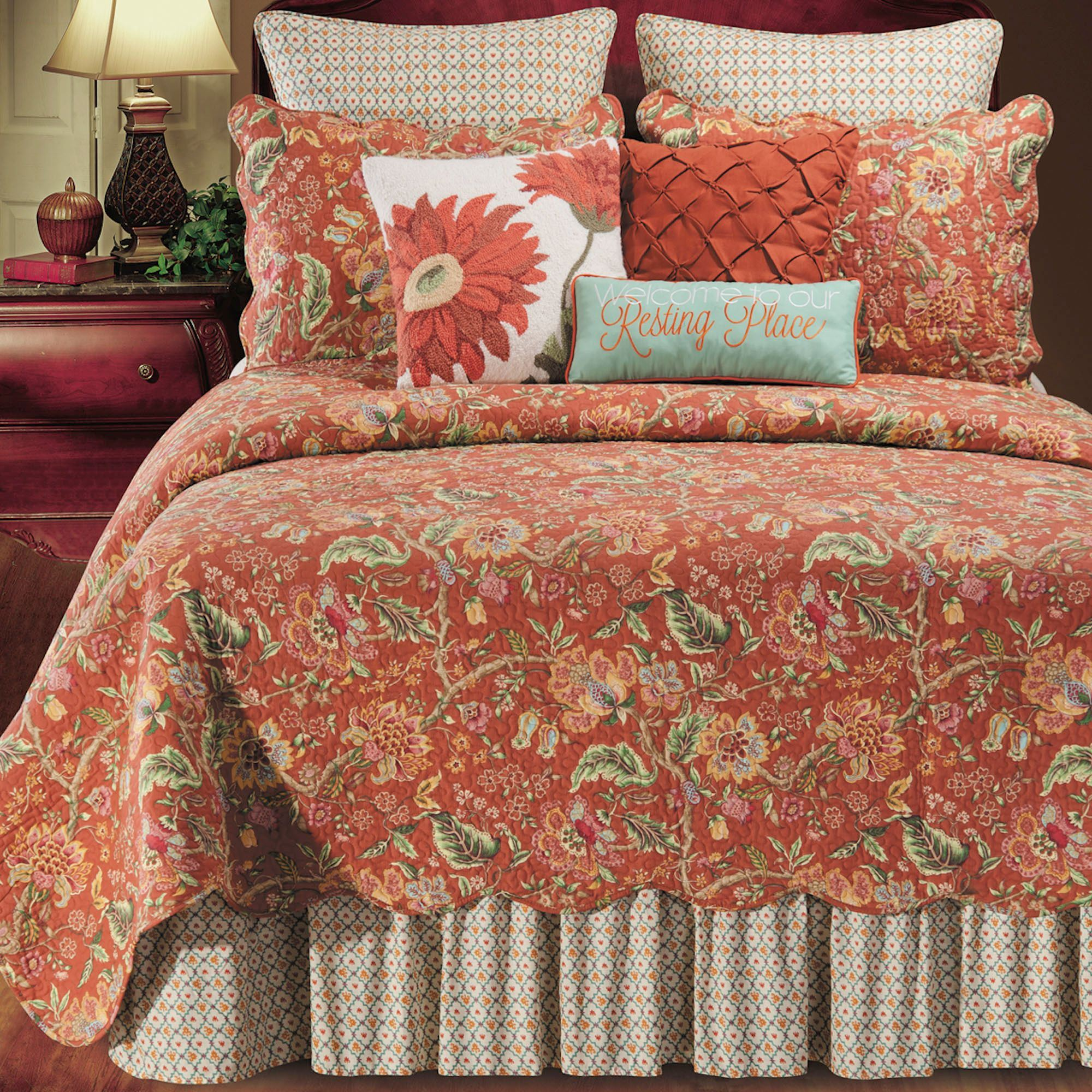 Adele Jacobean Floral Rust Quilt Bedding