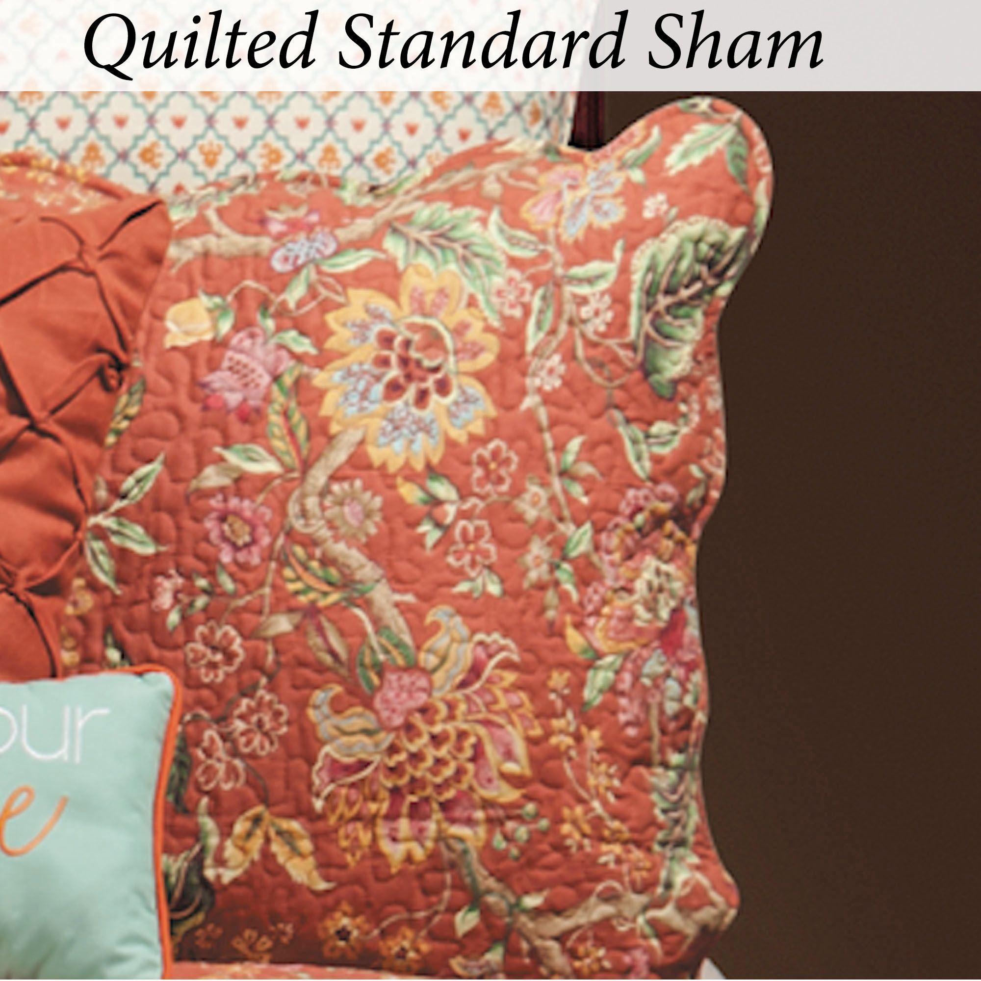 Adele Jacobean Floral Rust Quilt Bedding