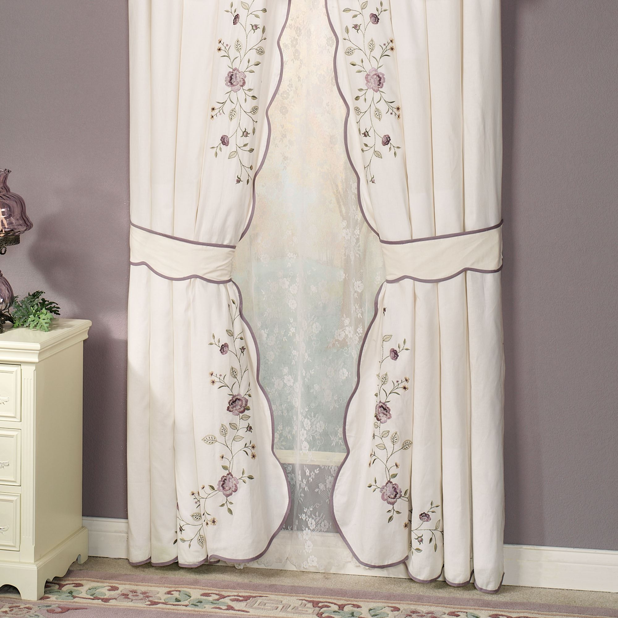 Vintage bloom embroidered window treatments for Flowery curtains design