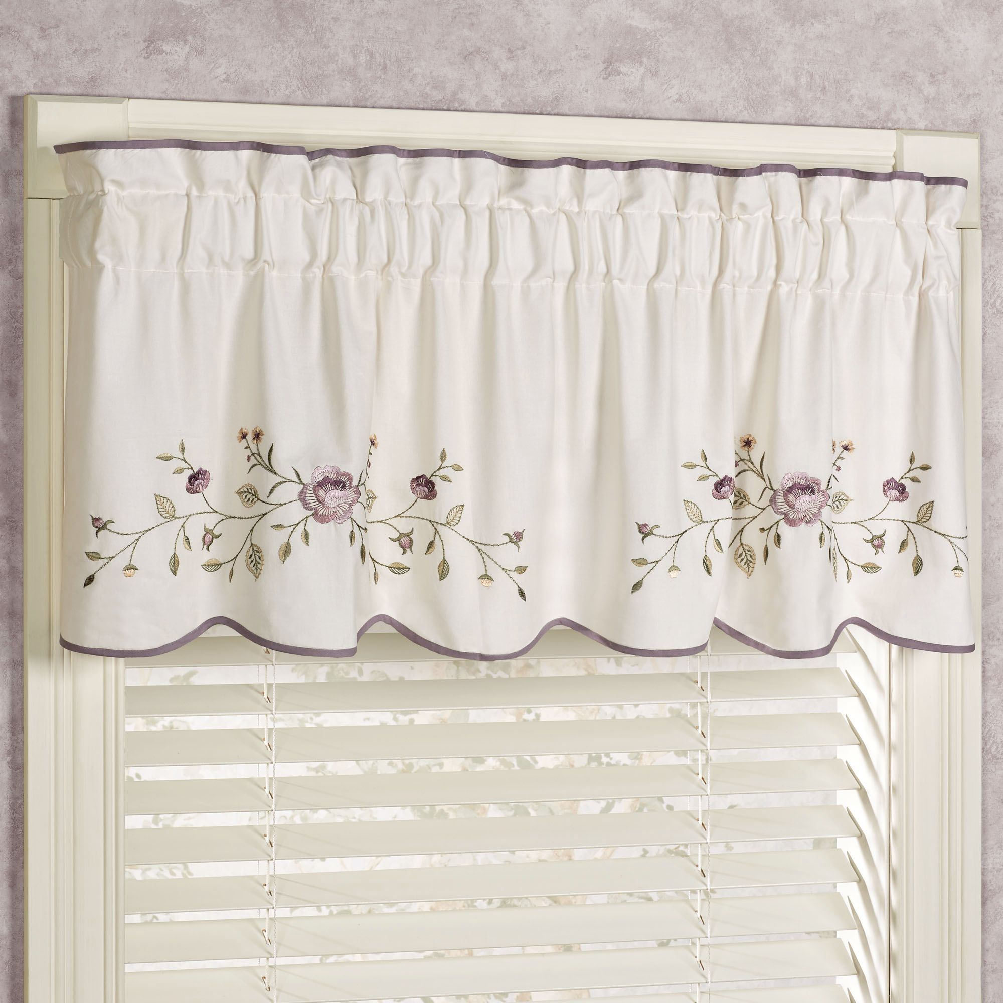 Vintage bloom embroidered window treatments for 18 x 60 window