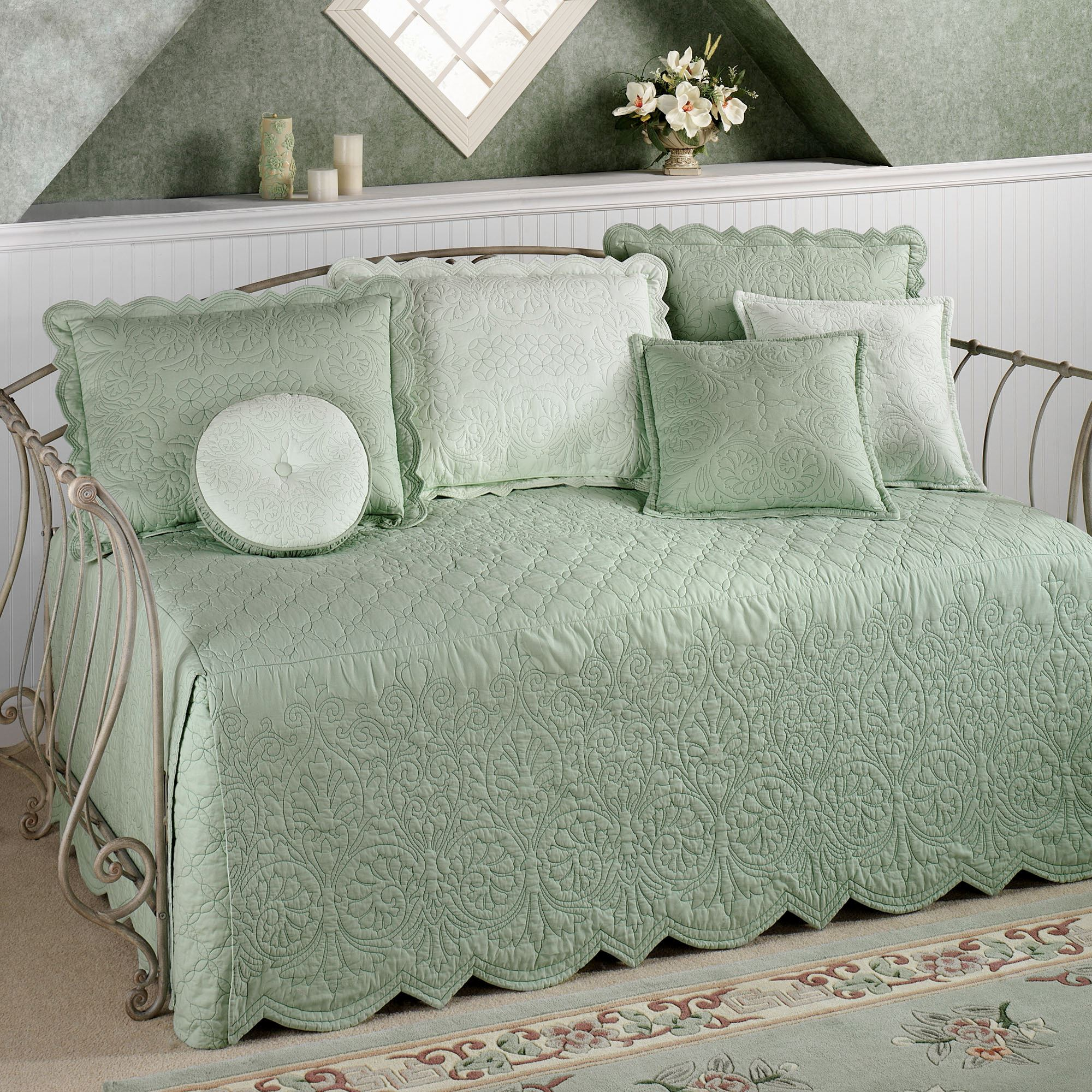 intrigue p daybed bedding flounce chenille quilts ruffled set quilt