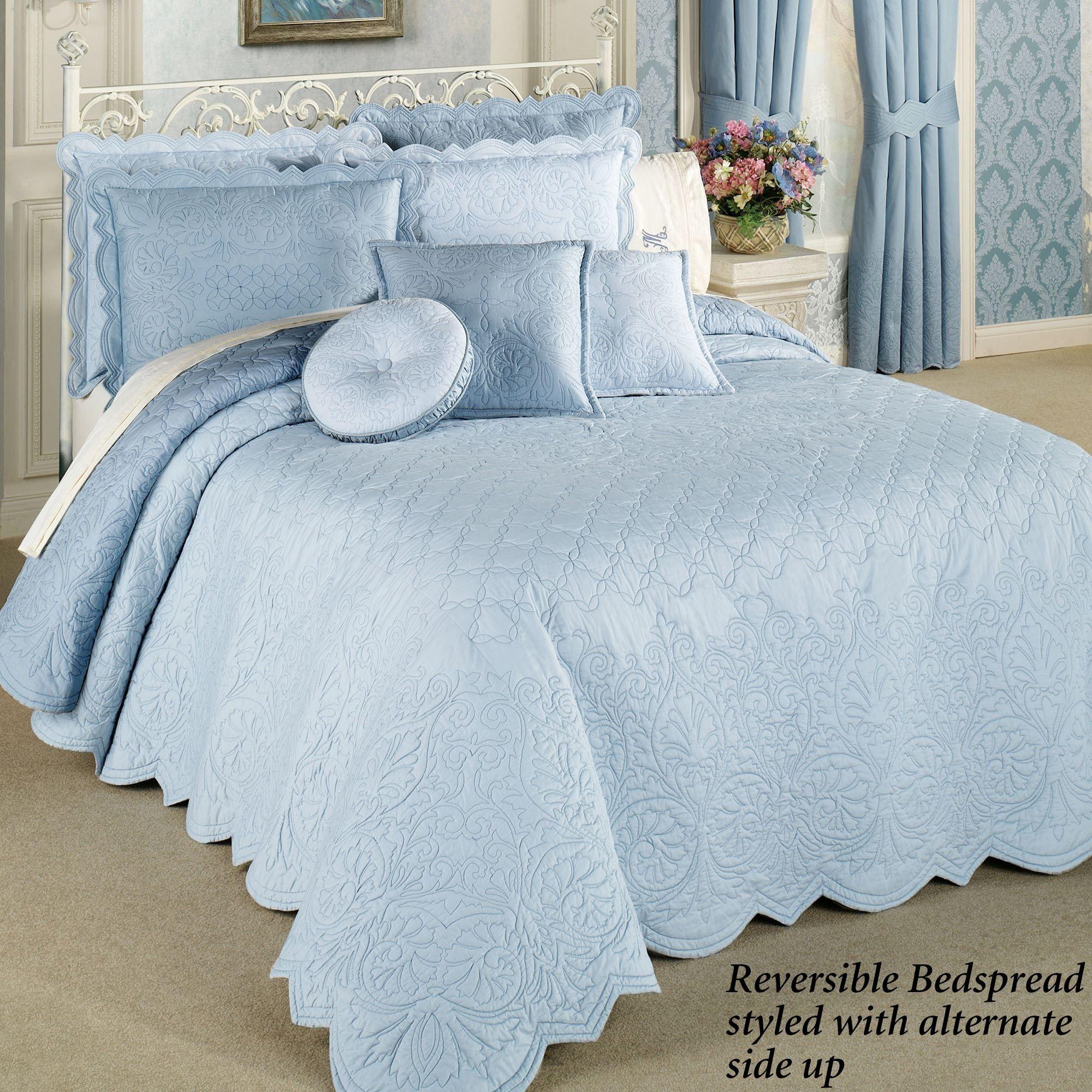 Evermore Blue Grande Bedspread Bedding