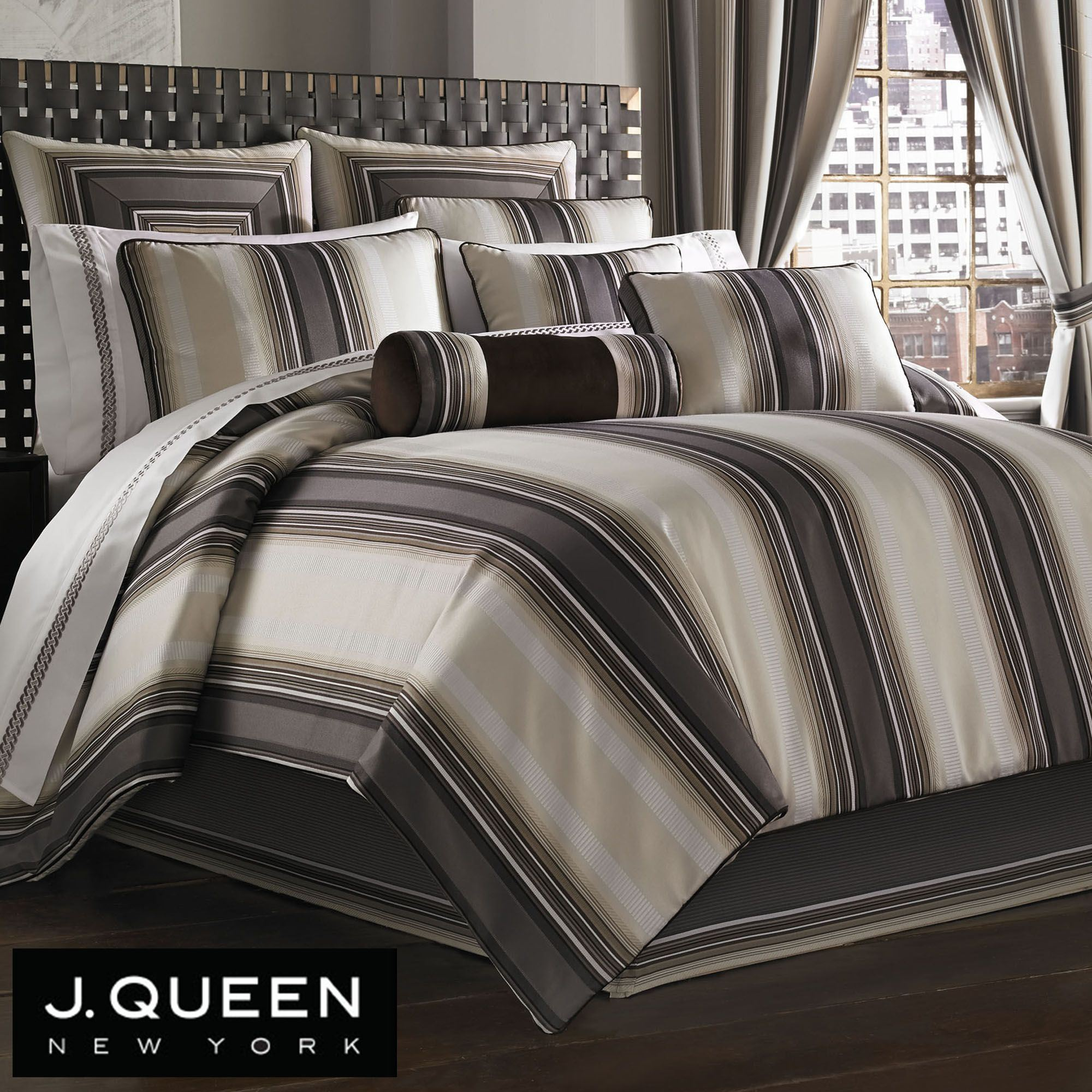 comforter detail striped of lace hob bedding linen bed stripe yellow by grey at head scion luxury