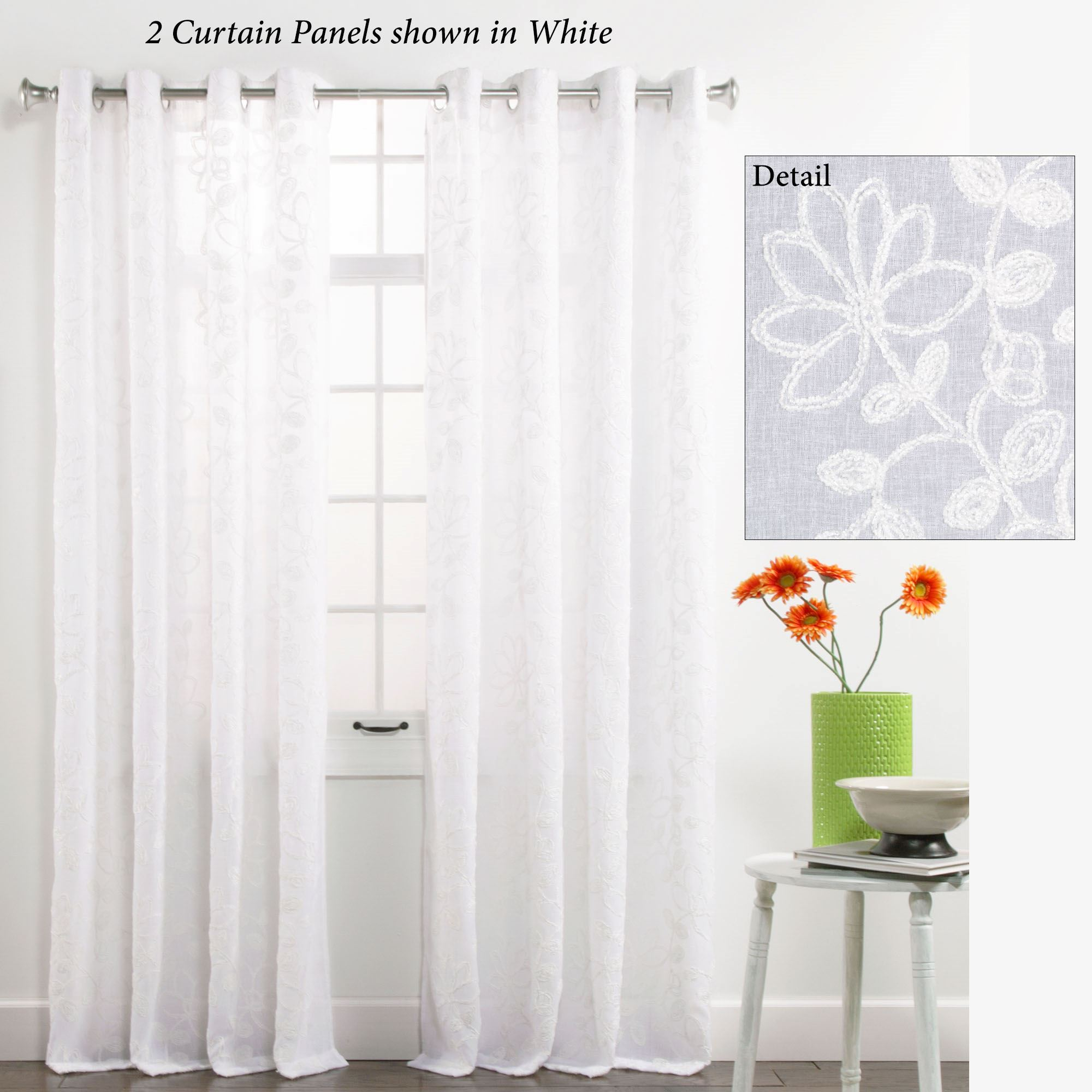 Darcey Semi Sheer Grommet Curtain Panel 55 X 84 Touch To Zoom