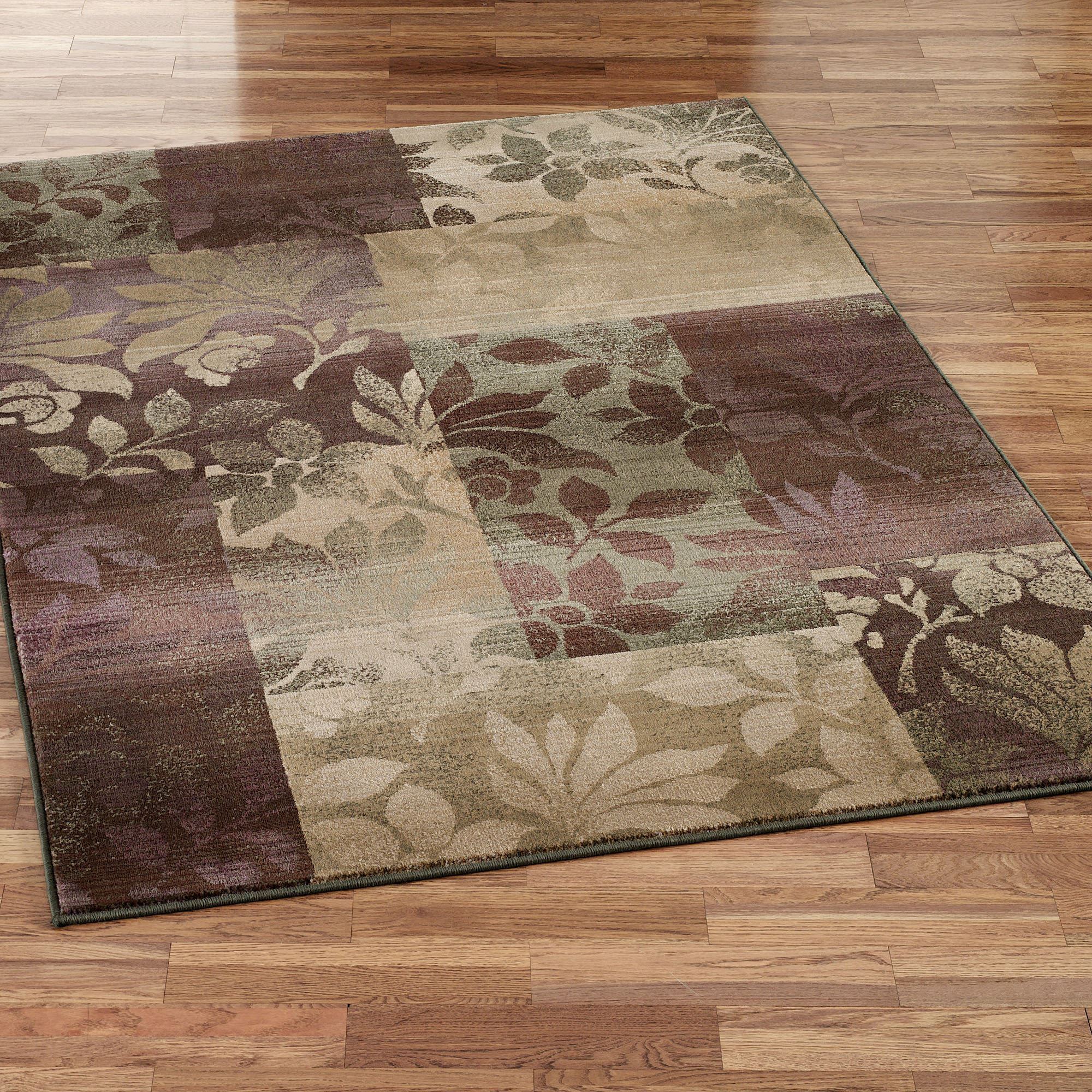 Leaf Collage Rectangle Rug Plum