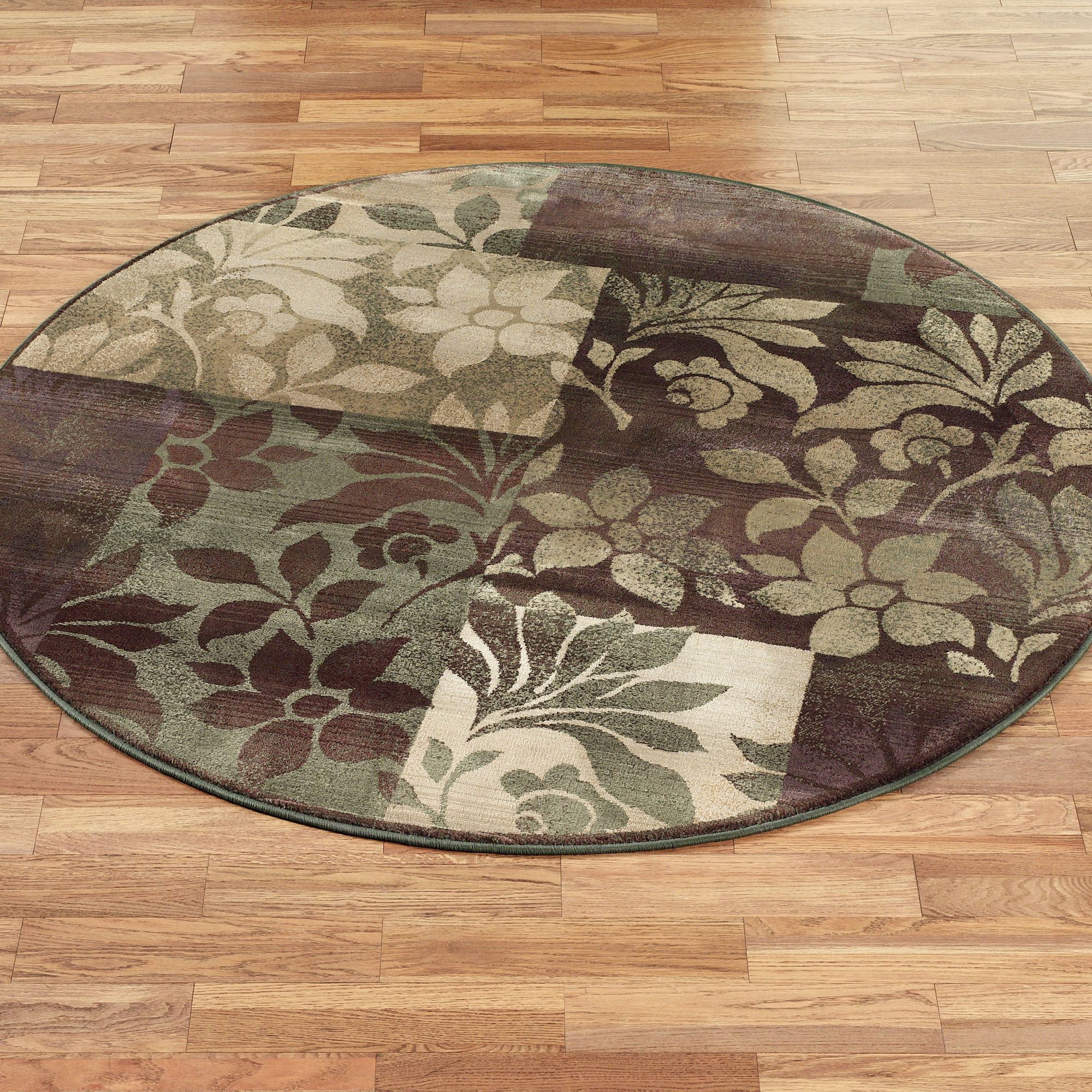 Leaf Collage Round Rug Plum