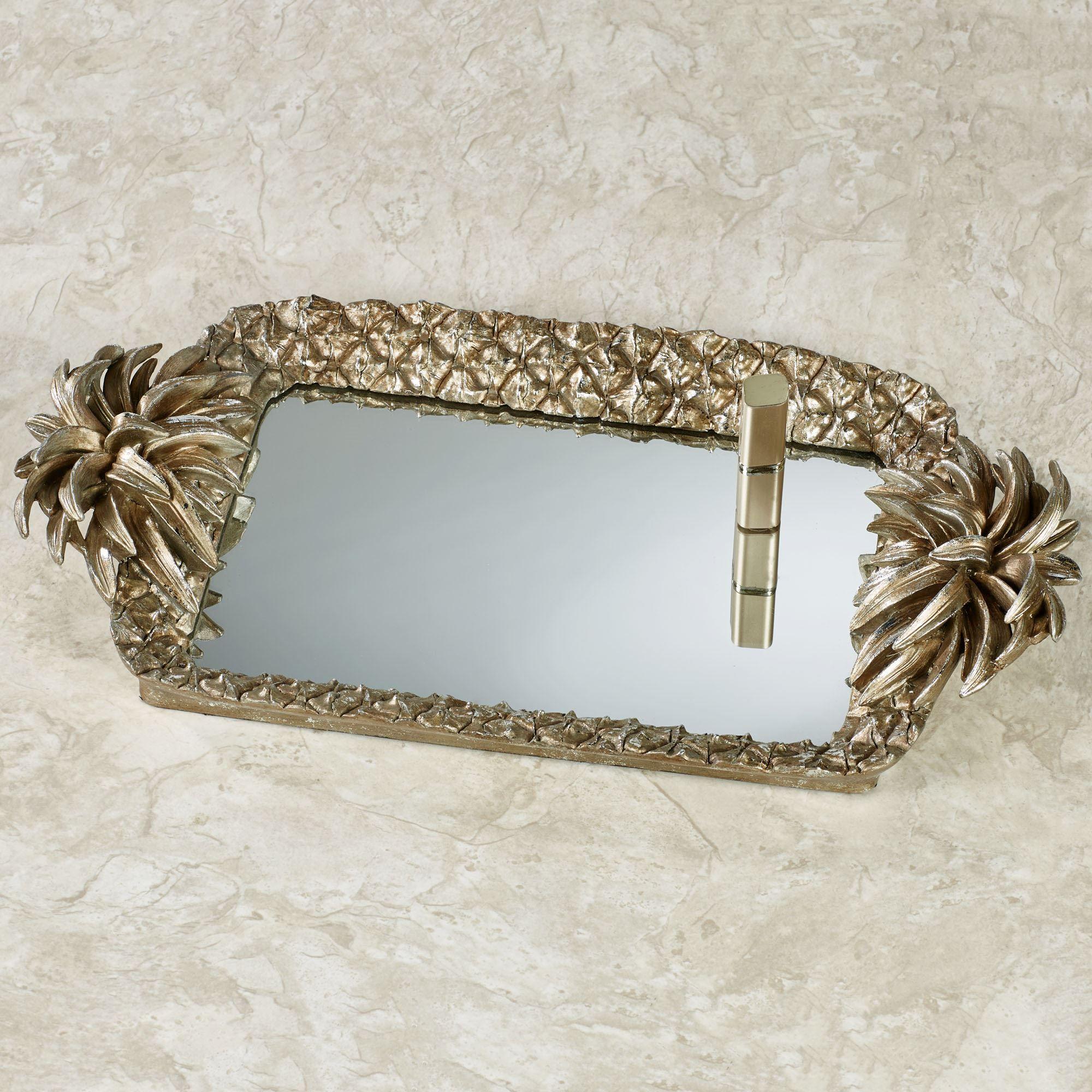 pineapple grandeur mirrored vanity tray light gold - Bathroom Accessories Vanity Tray