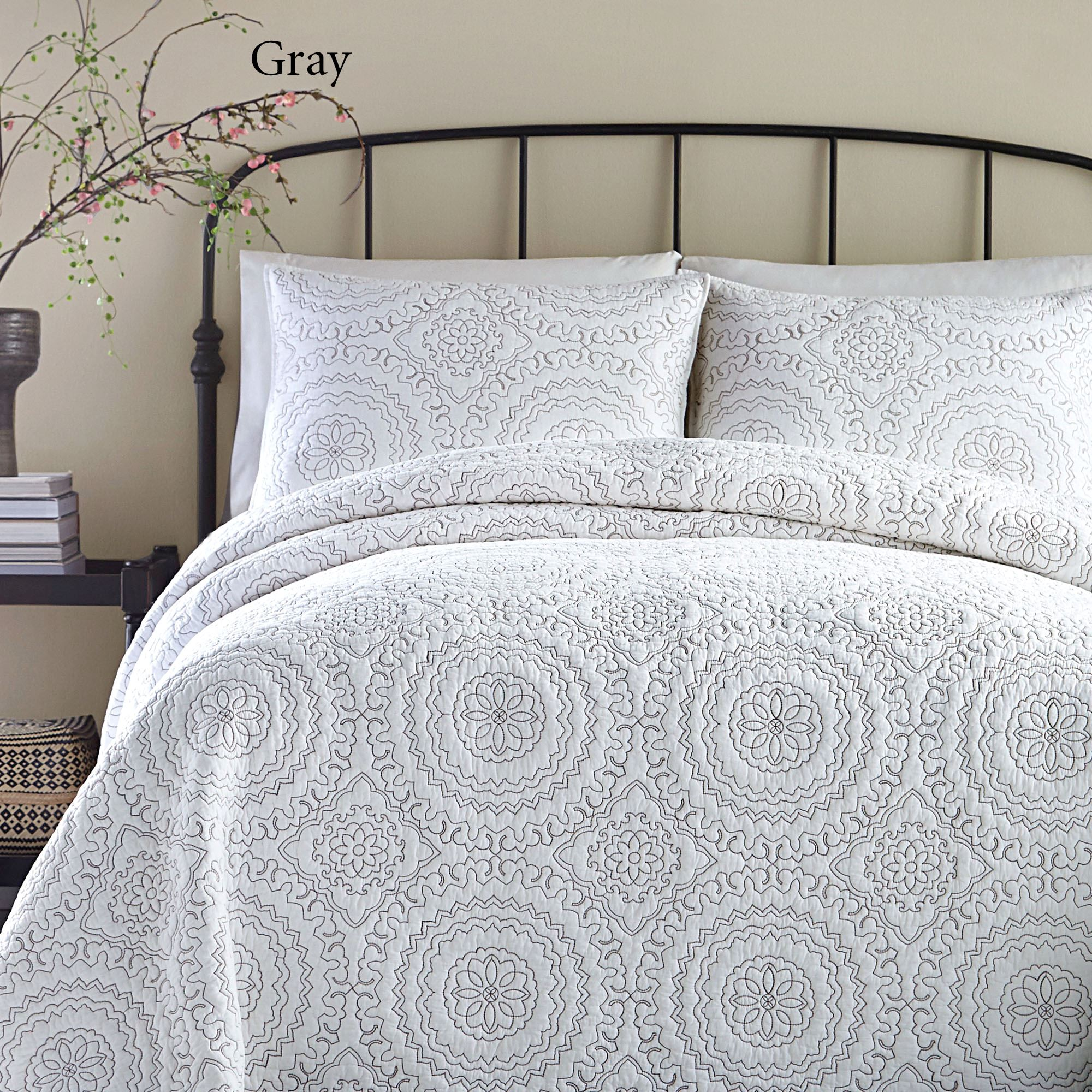 Medallion Embroidered Coverlet By Jessica Simpson