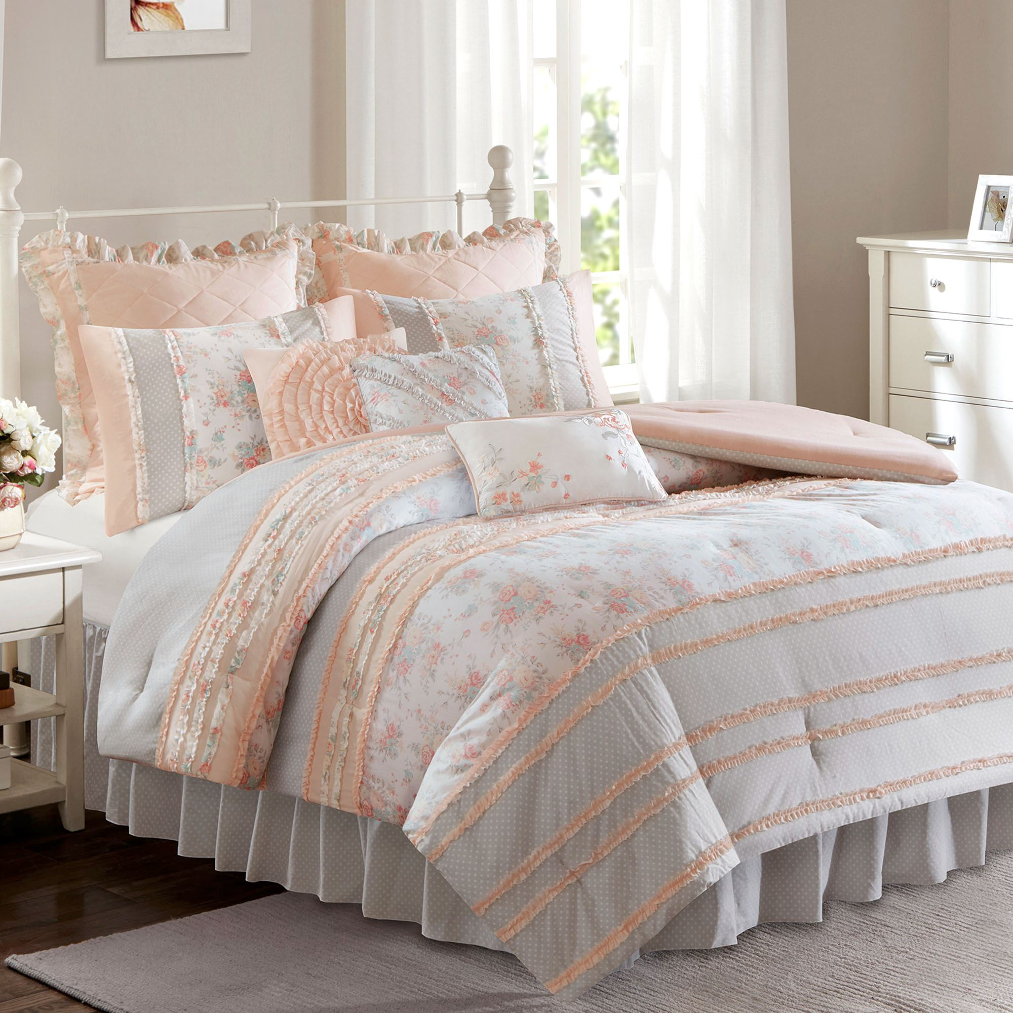 Serena Peach Ruffle 7 9 Pc Comforter Bed Set