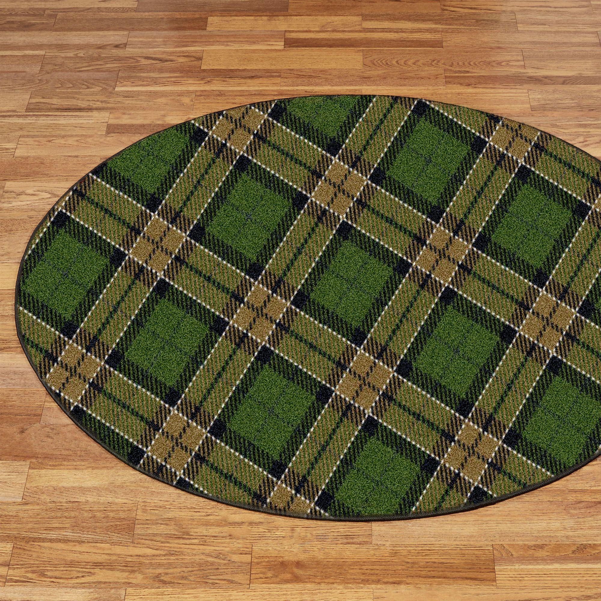 christmas plaid round rug 54 round