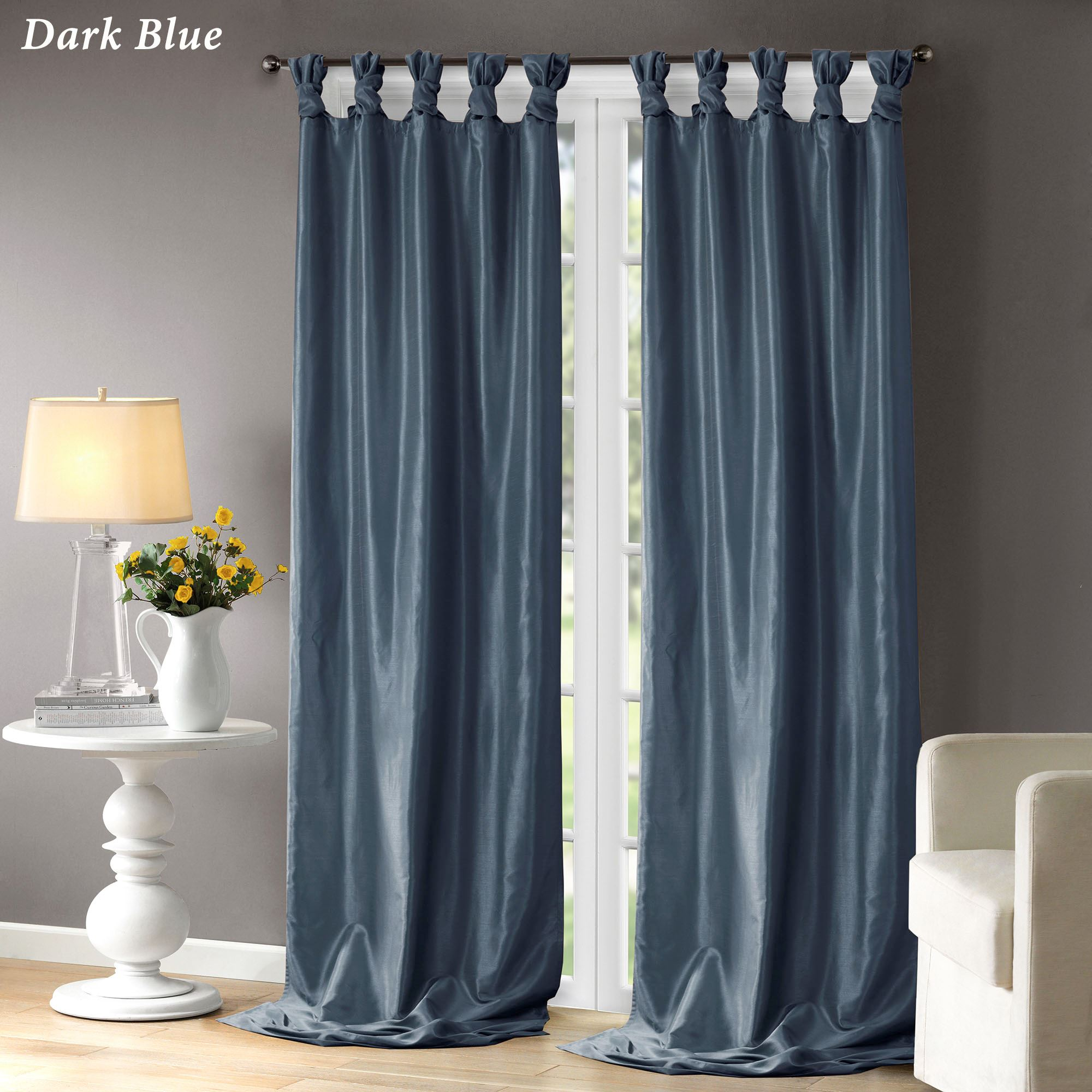 Natalia Faux Silk Tab Top Curtain Panel