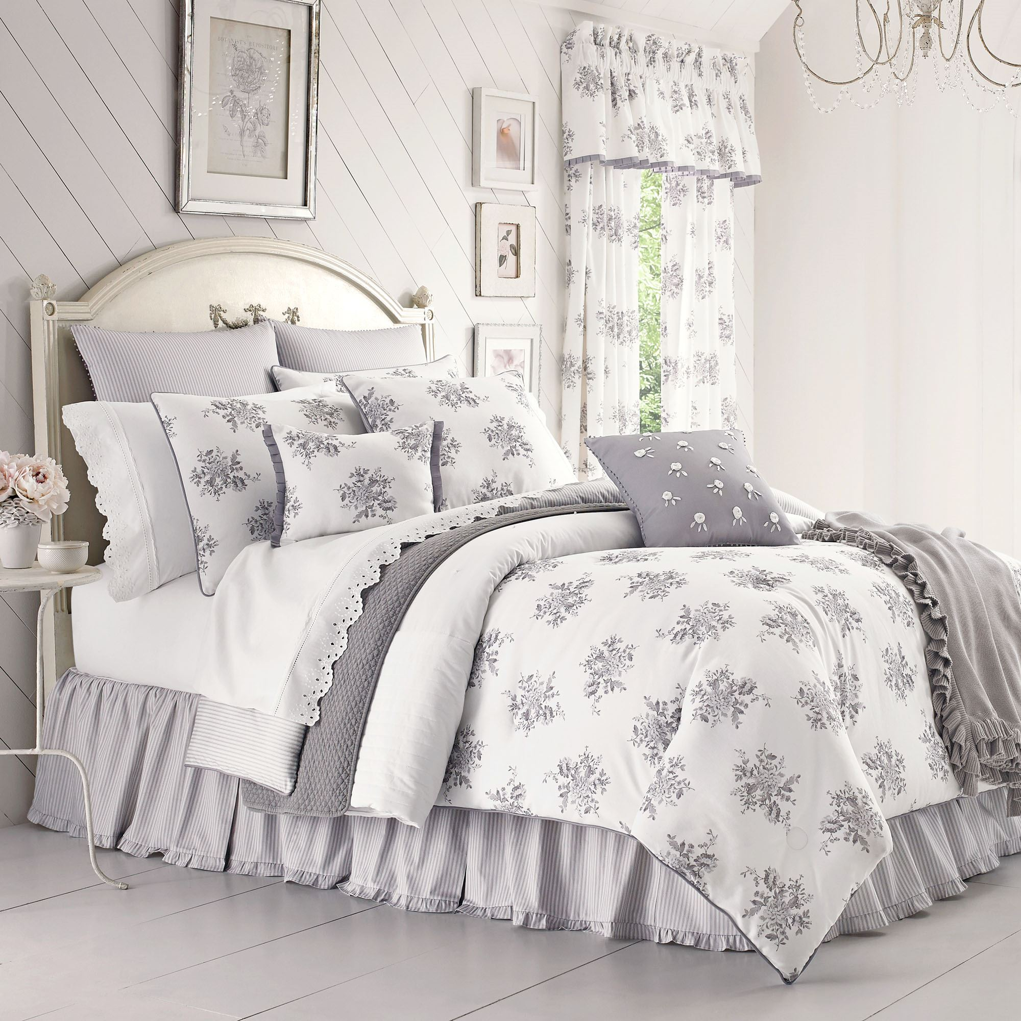 Sabrina Gray And White Vintage Floral Comforter Bedding By