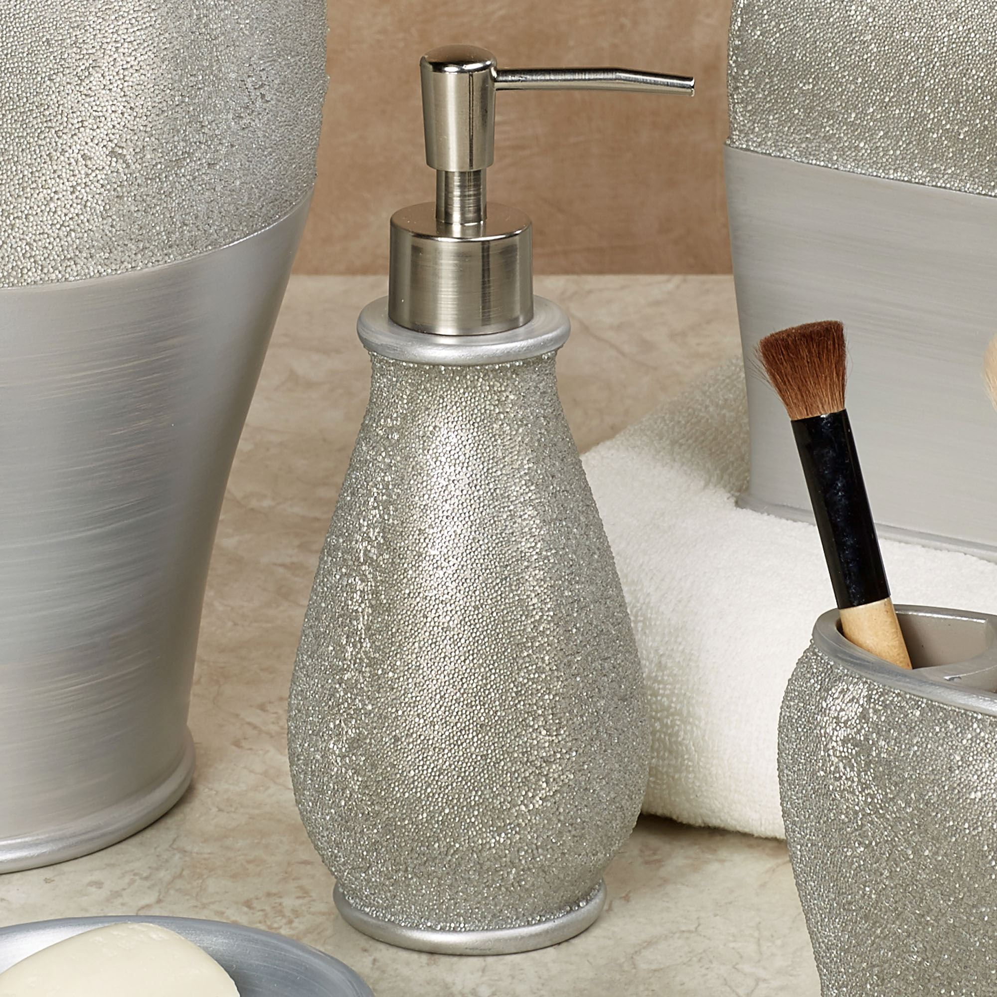 Genial Glimmer Lotion Soap Dispenser Silver Gray