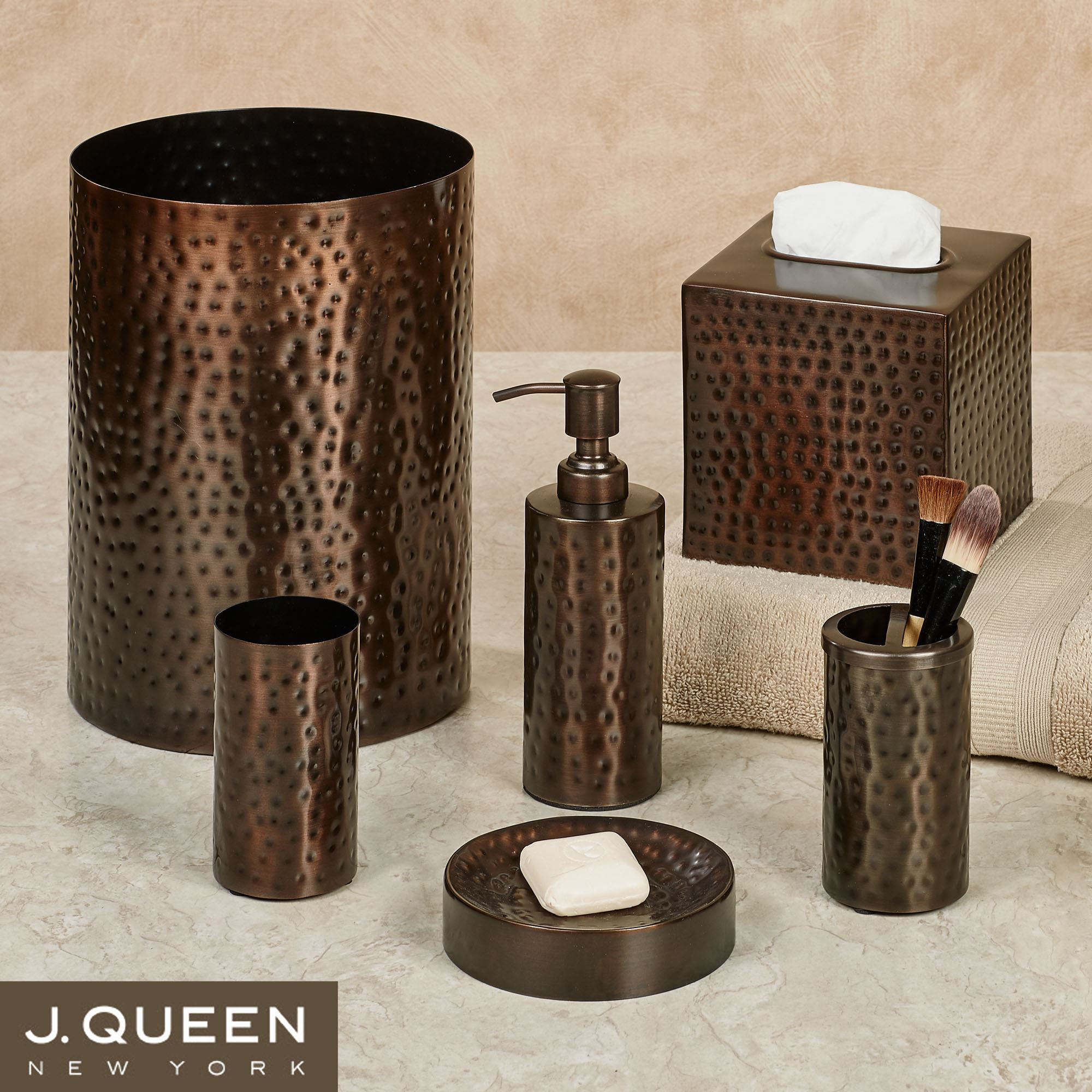 Pressed metal bronze bath accessories by j queen new york - Rubbed oil bronze bathroom accessories ...