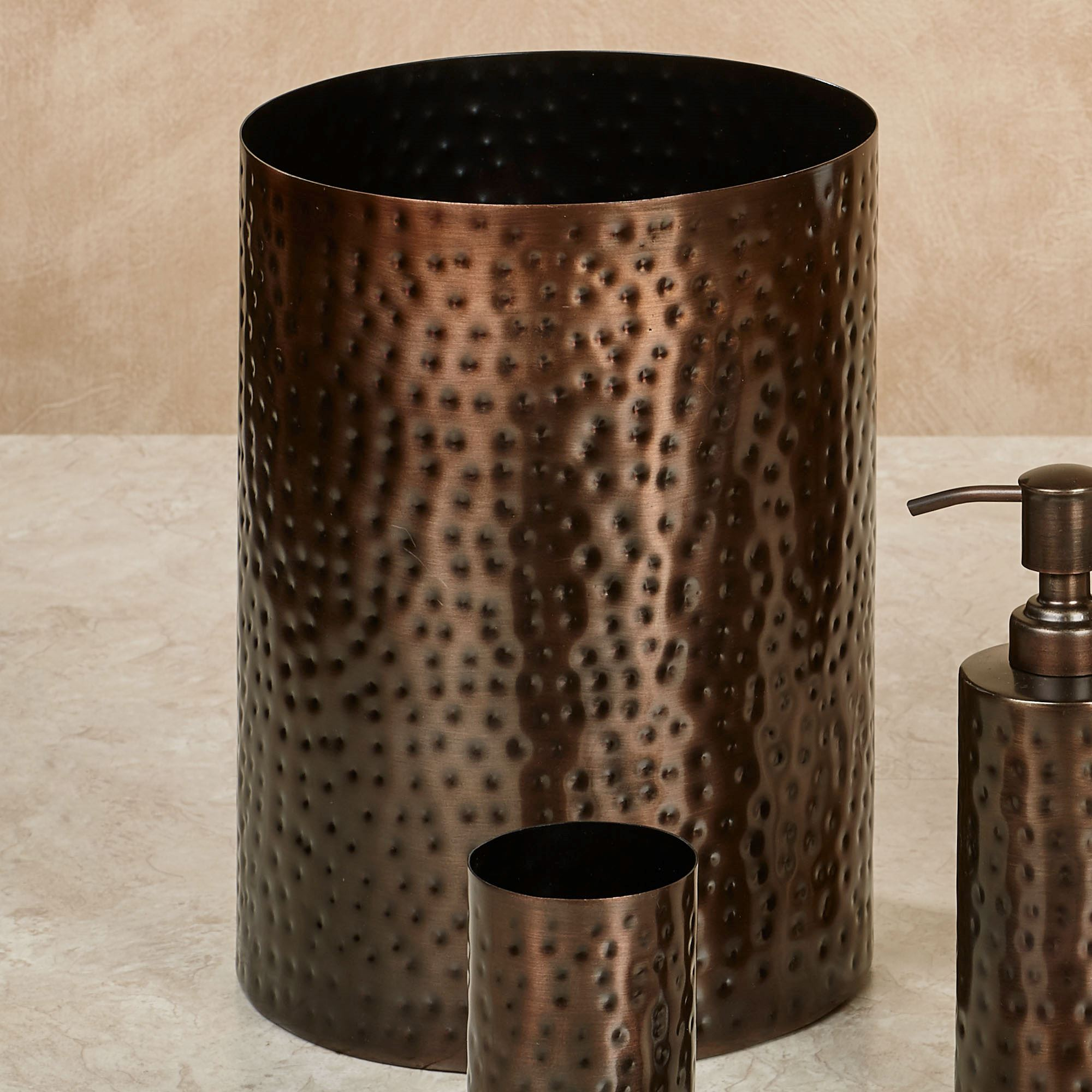 Pressed metal bronze bath accessories by j queen new york for Oil rubbed bronze bathroom wastebasket