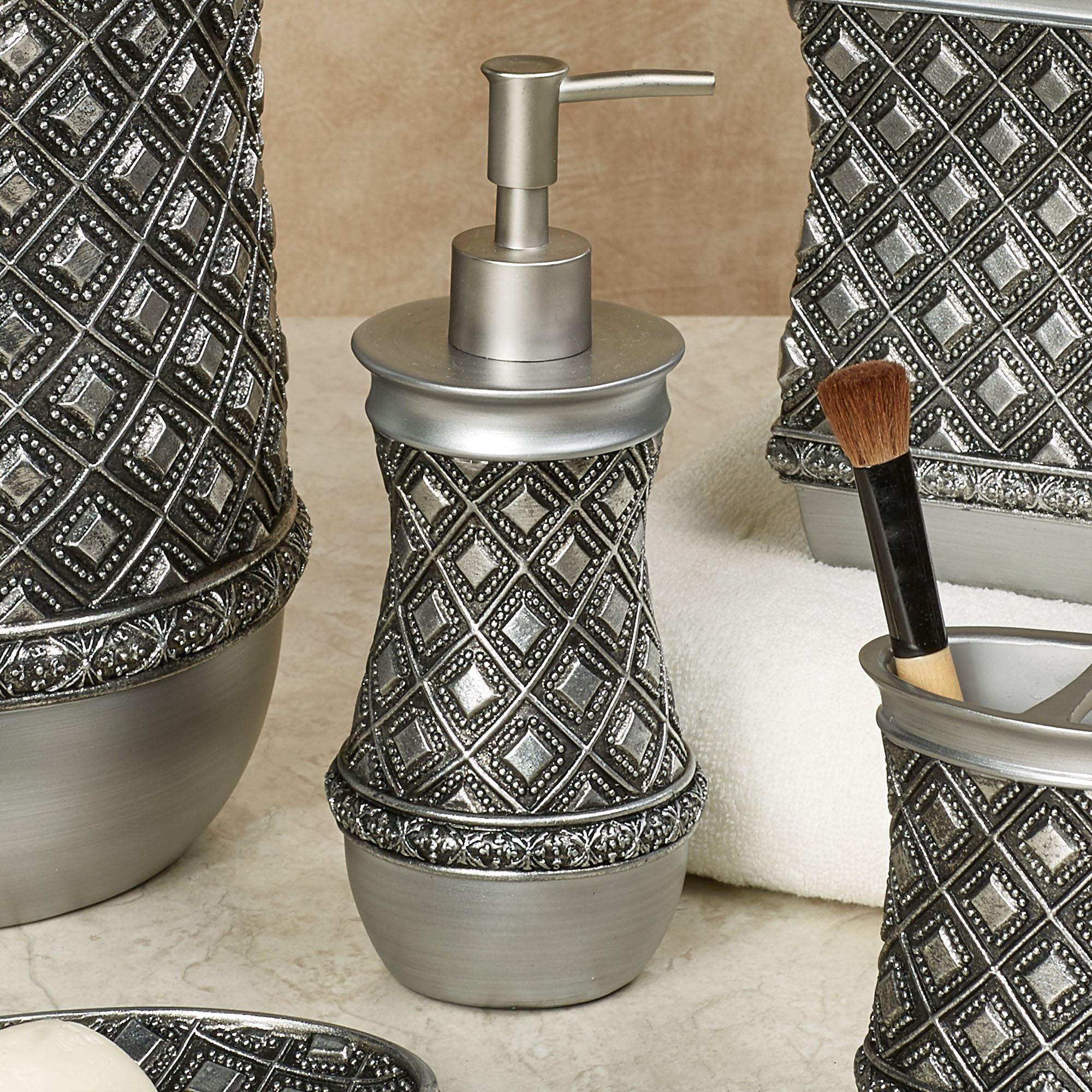 diamond bathroom accessories. Diamond Lattice Lotion Soap Dispenser Antique Silver Bathroom Accessories O