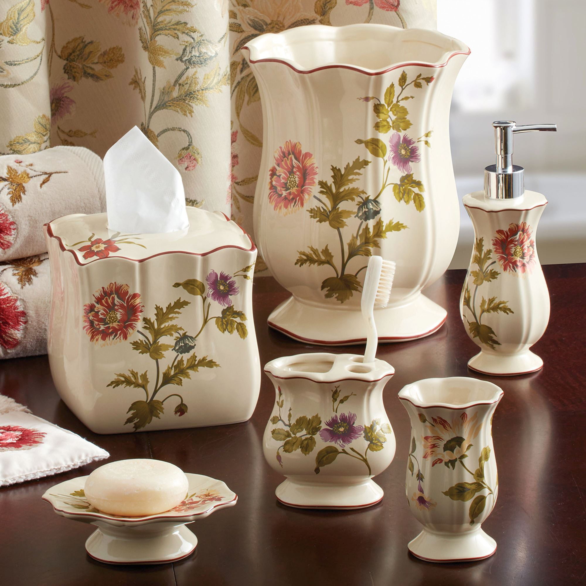 Daphne floral bath accessories by croscill for Floral bath accessories