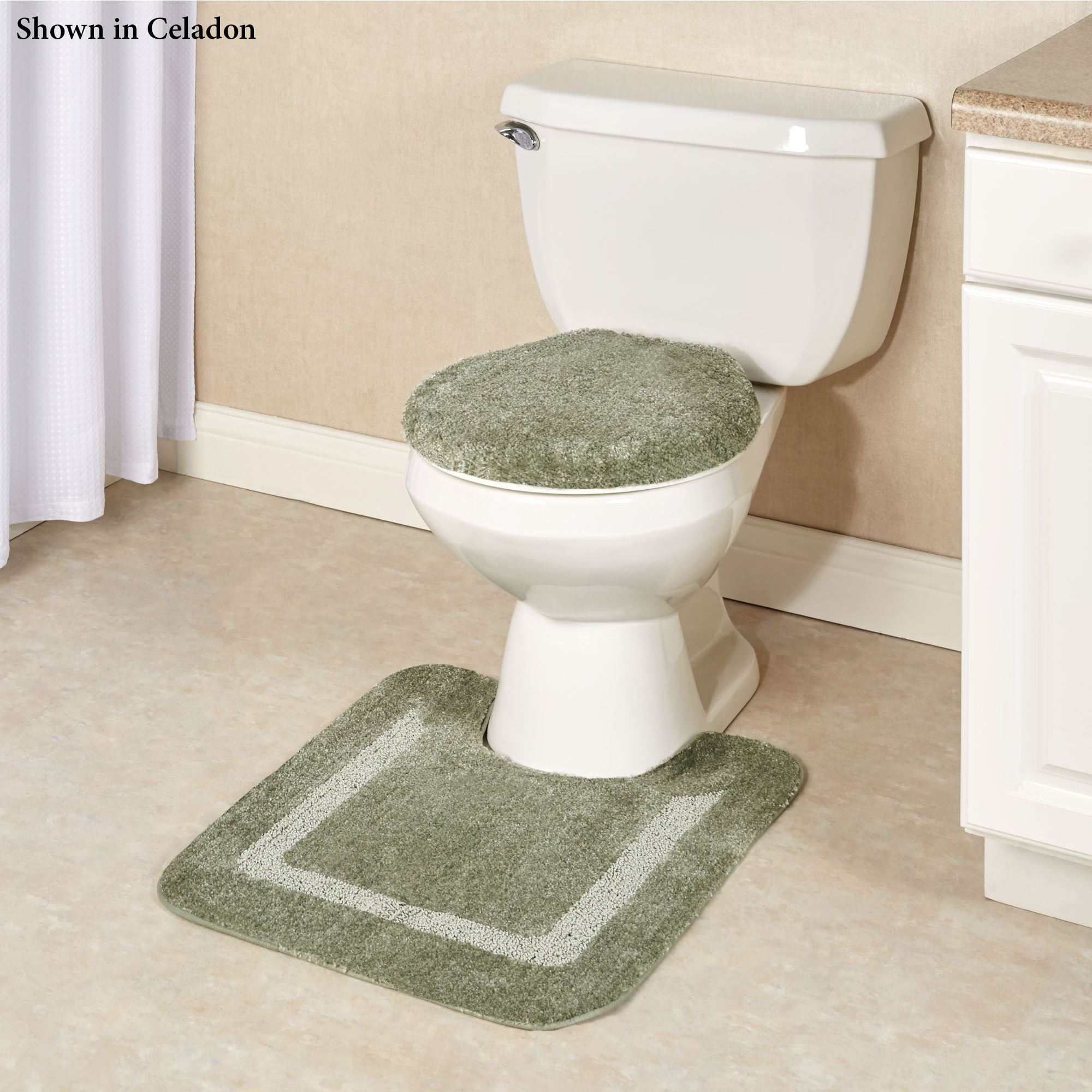 Facet Plush Nylon Toilet Lid Cover Or Contour Mat