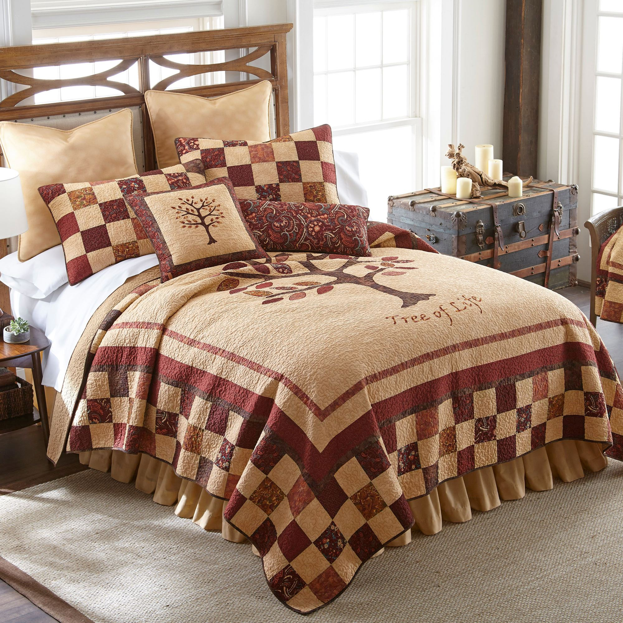 Autumn Tree Of Life Fall Patchwork Quilt Bedding By Donna