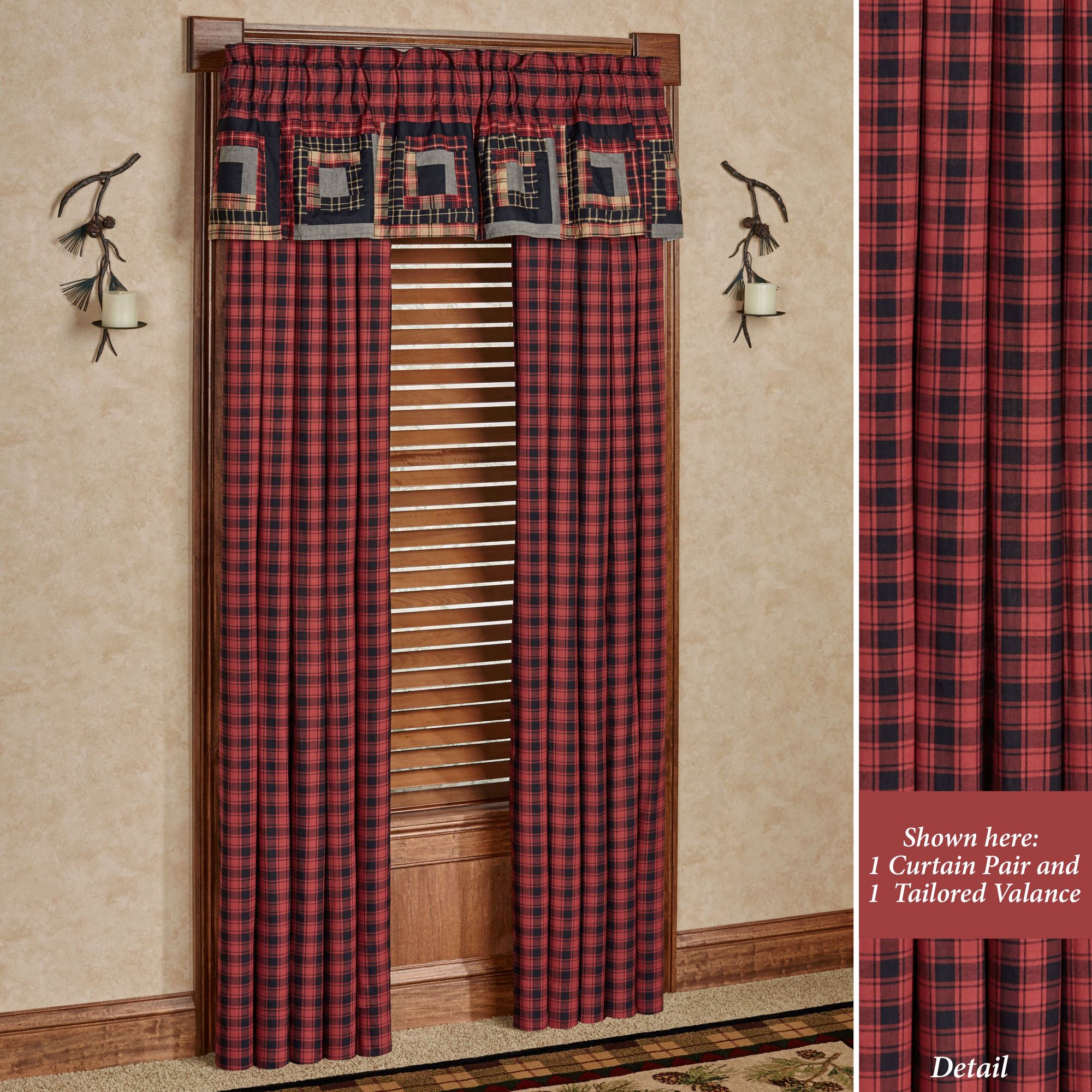 Red Window Curtain Panels Sale: Cumberland Rustic Red Plaid Window Treatment By Oak & Asher
