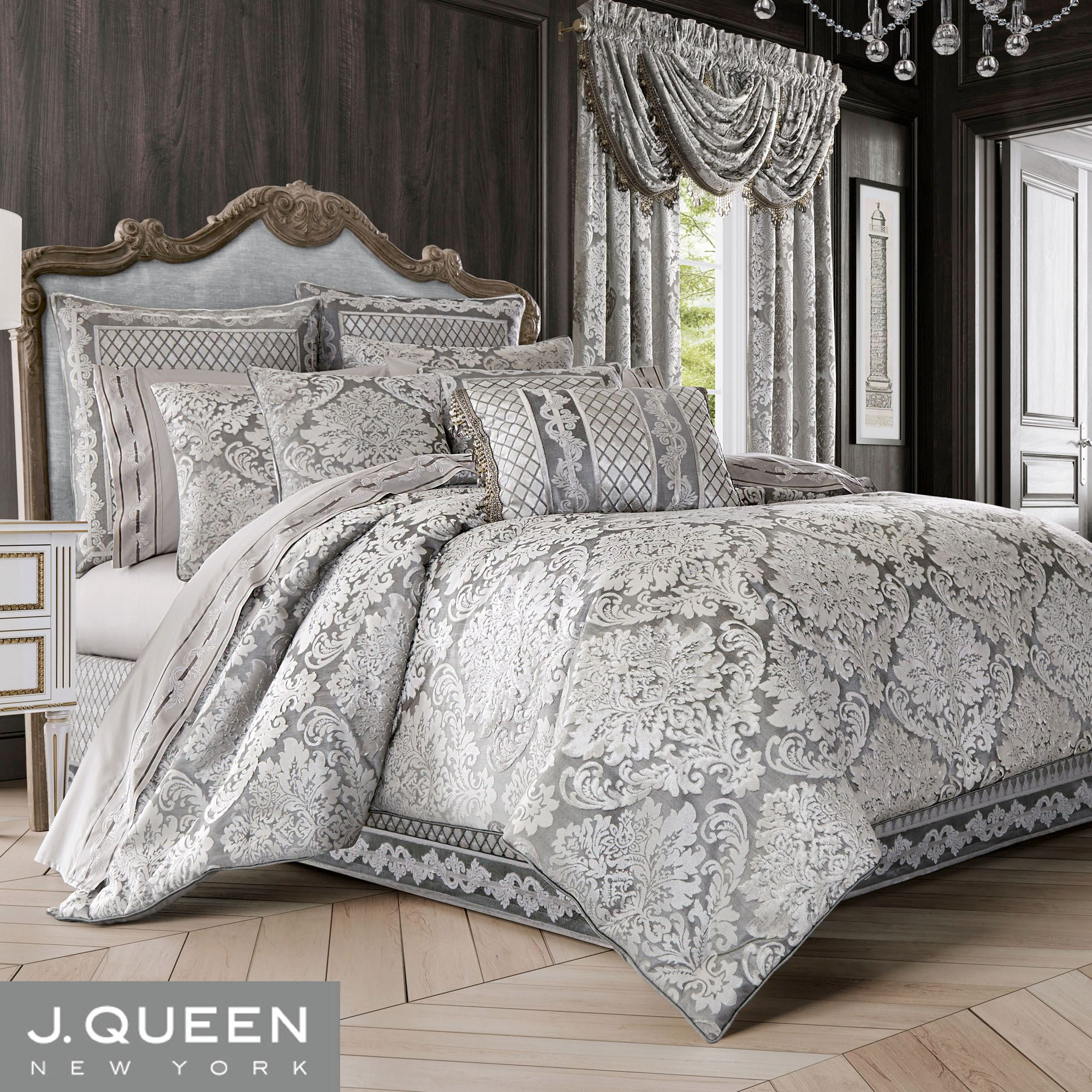 Bel Air Silver Velveteen Damask Comforter Bedding By J