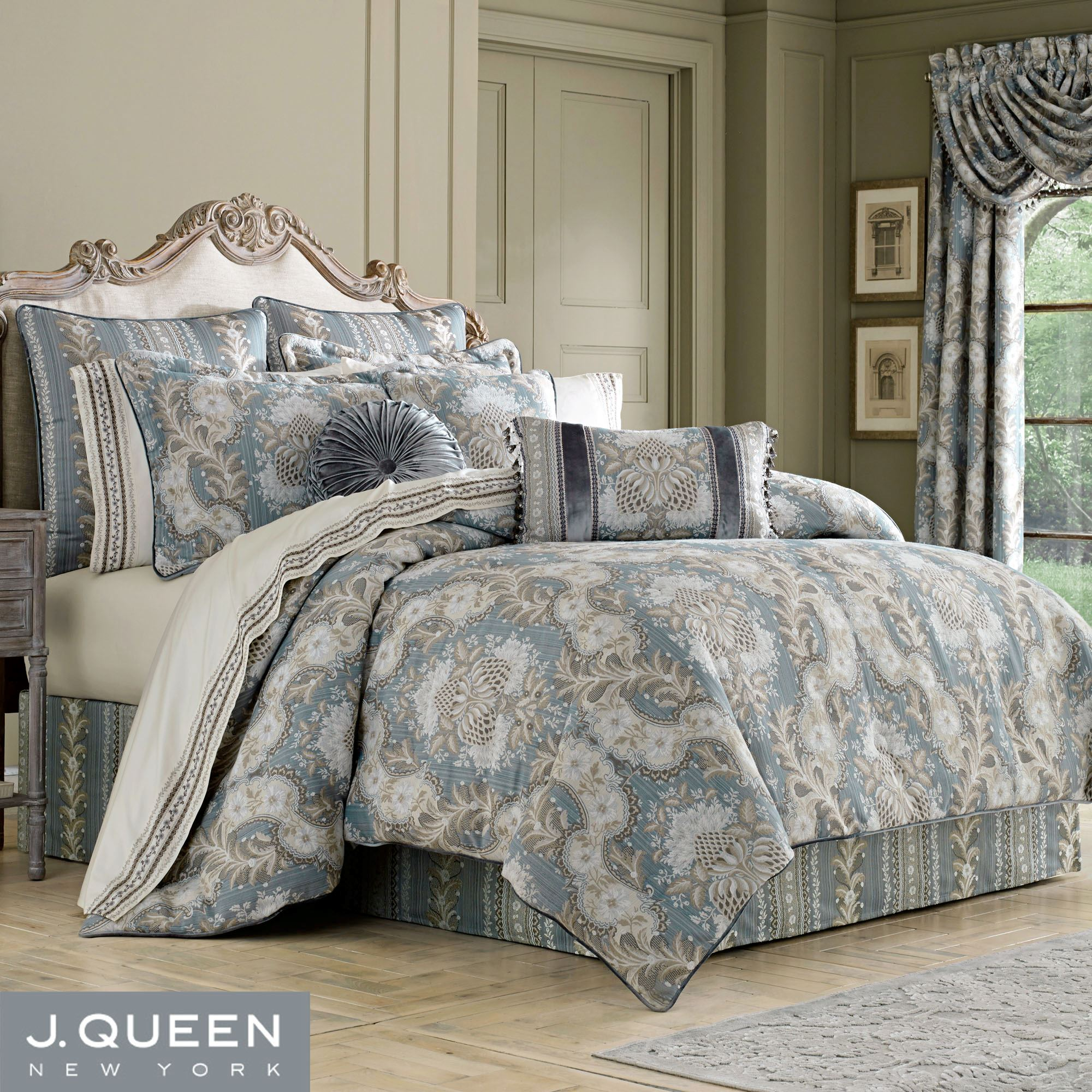 Bedroom Sets Clearance Free Shipping: Crystal Palace Acanthus Leaf French Blue Comforter Bedding