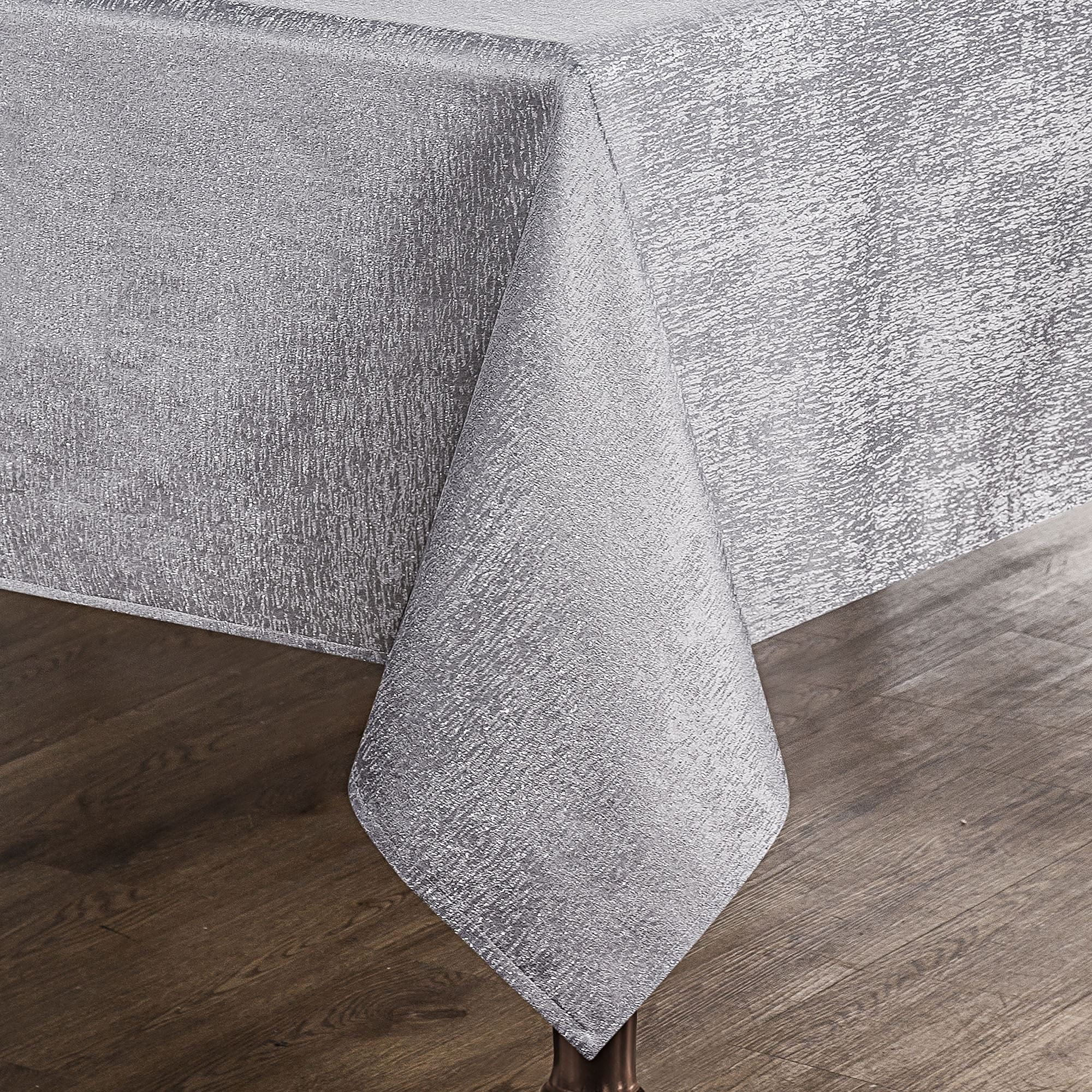 Moonscape Oblong Tablecloth Silver